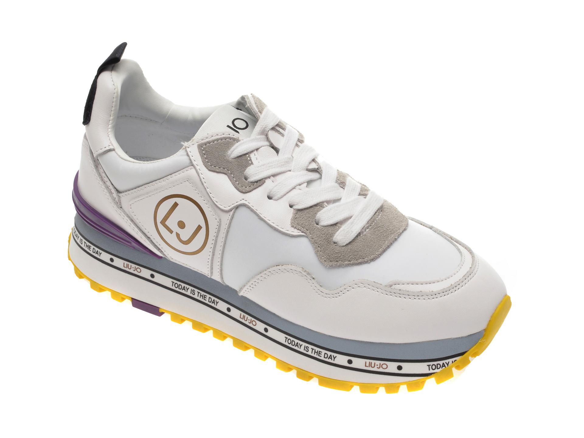 Pantofi sport LIU JO albi, Maxiale din material textil si piele ecologica