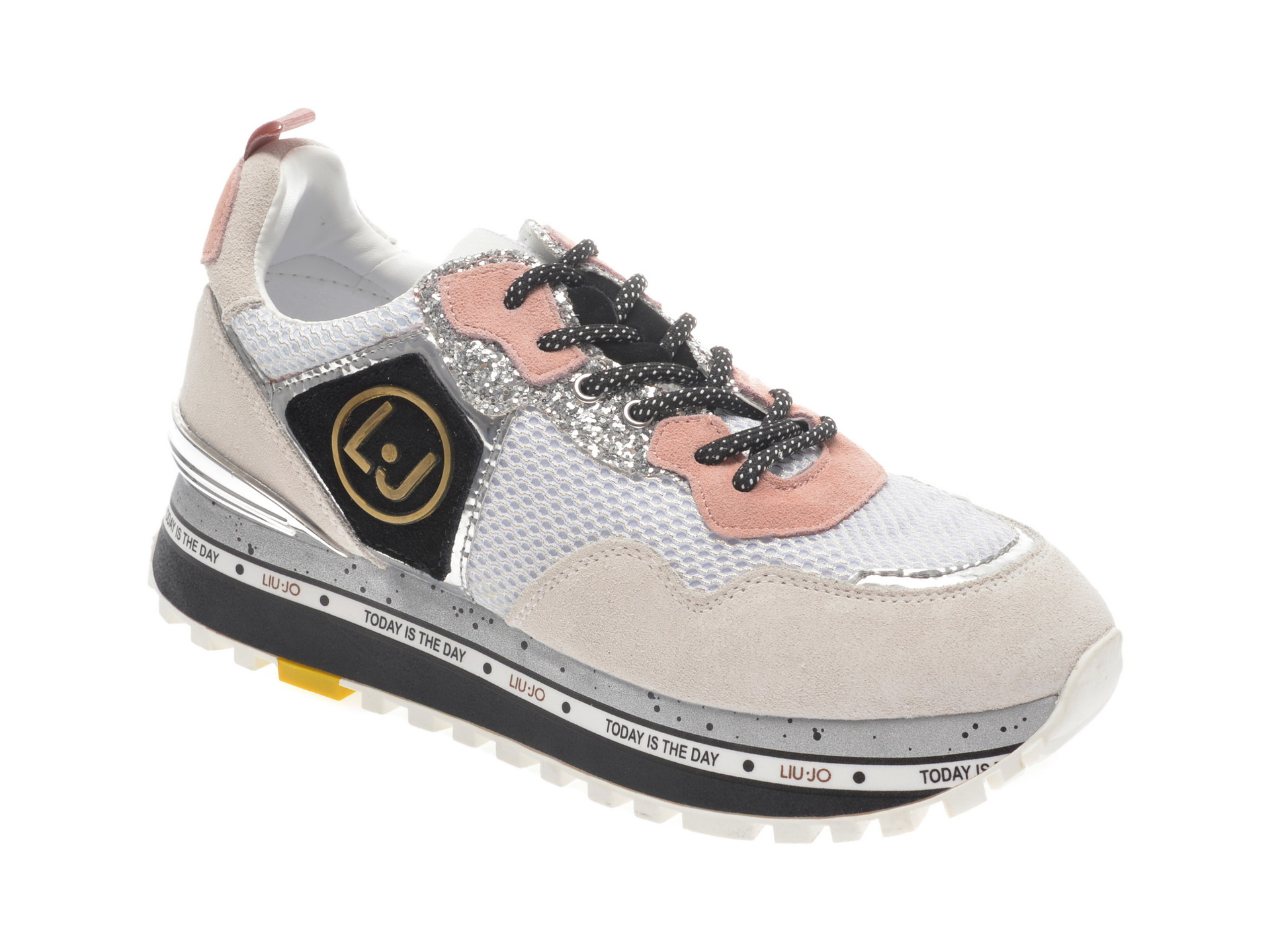 Pantofi sport LIU JO albi, Maxiale, din material textil si piele naturala