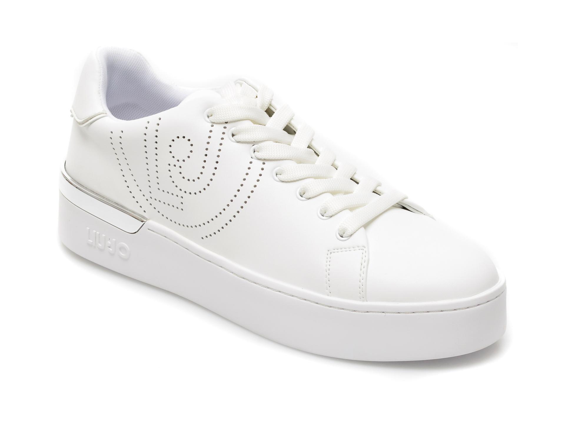 Pantofi sport LIU JO albi, Silvia 3, din piele ecologica imagine otter.ro