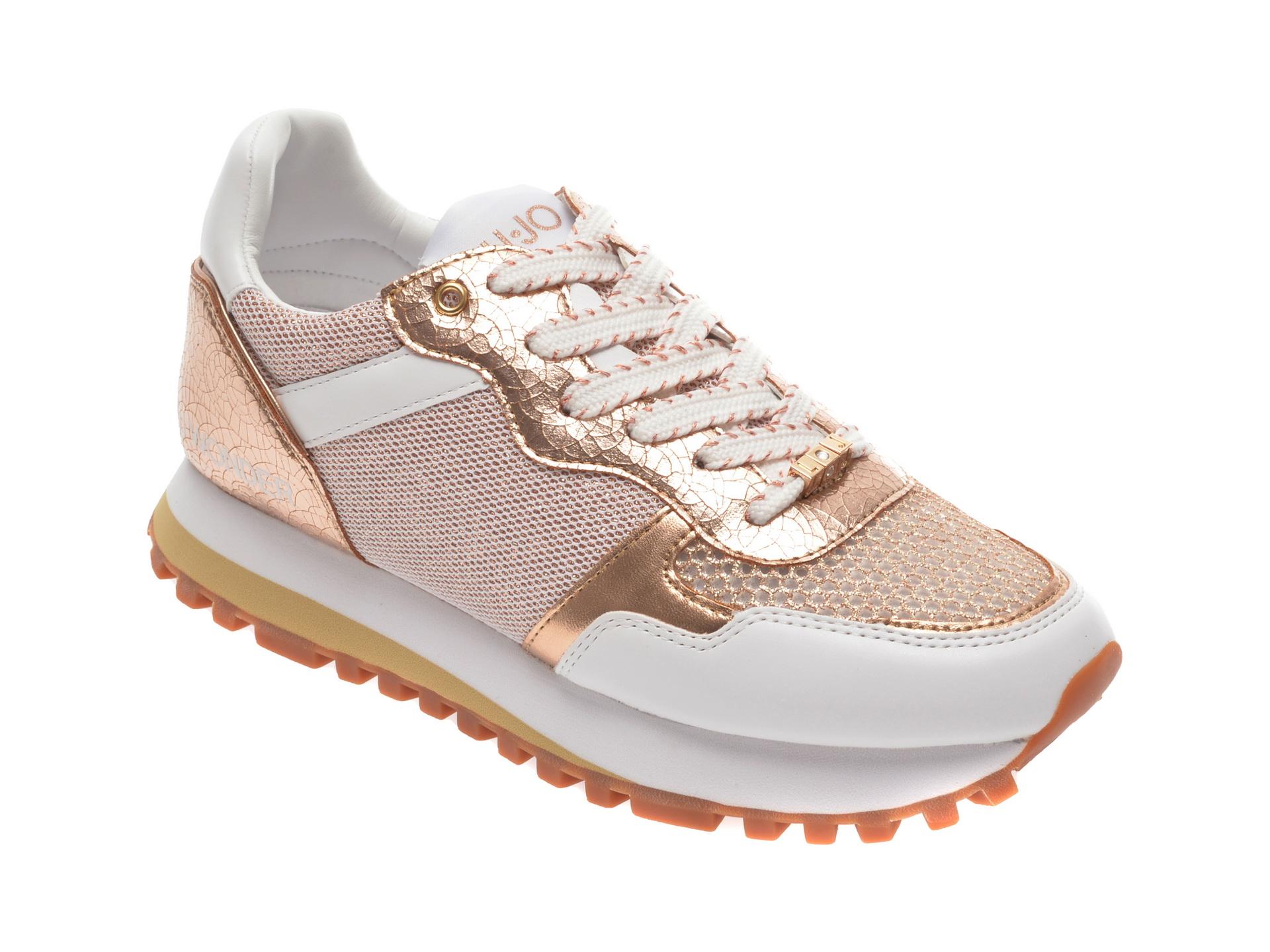 Pantofi sport LIU JO albi, Wonder, din material textil si piele ecologica