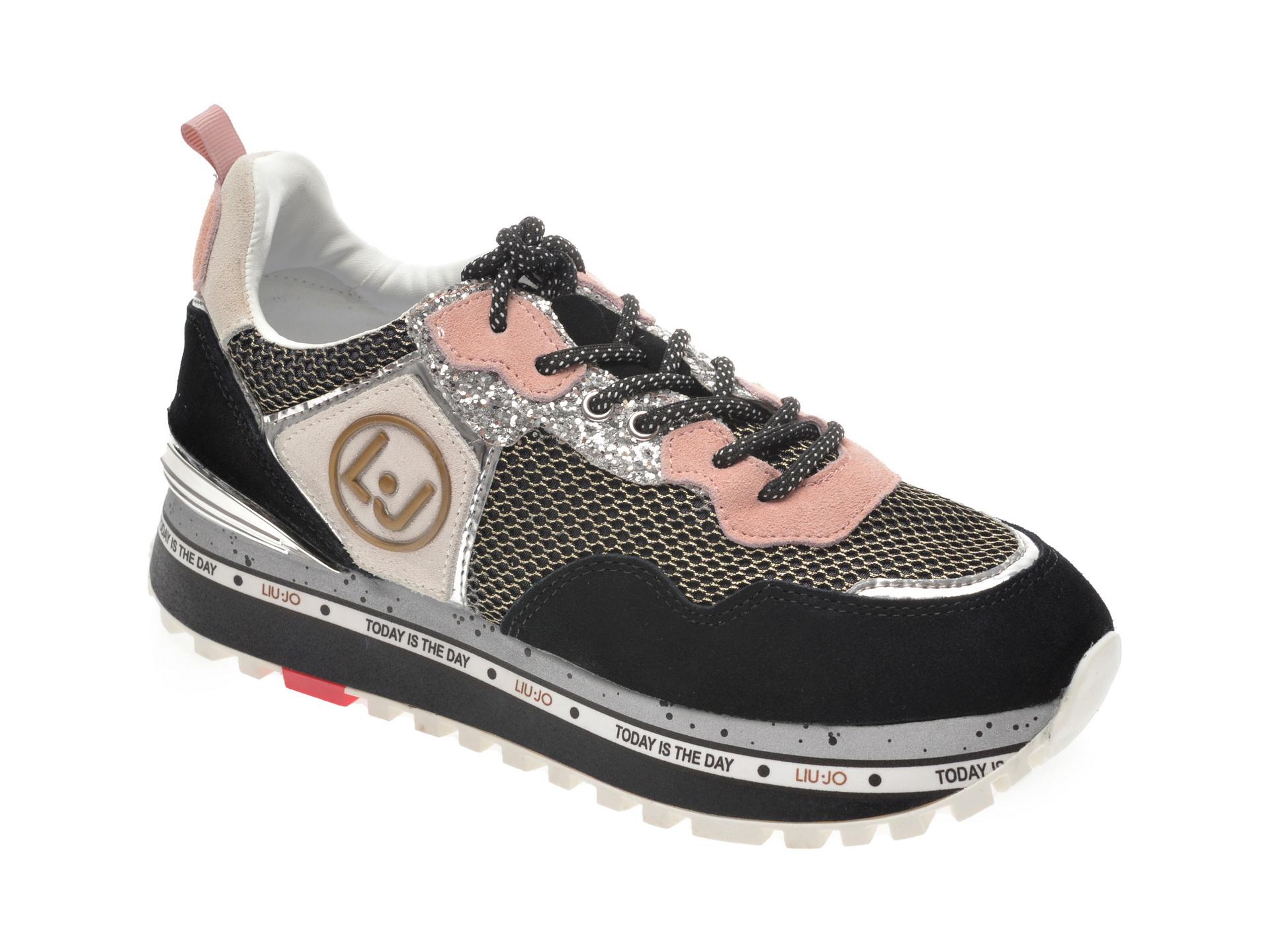 Pantofi sport LIU JO negri, Maxiale, din material textil si piele naturala imagine
