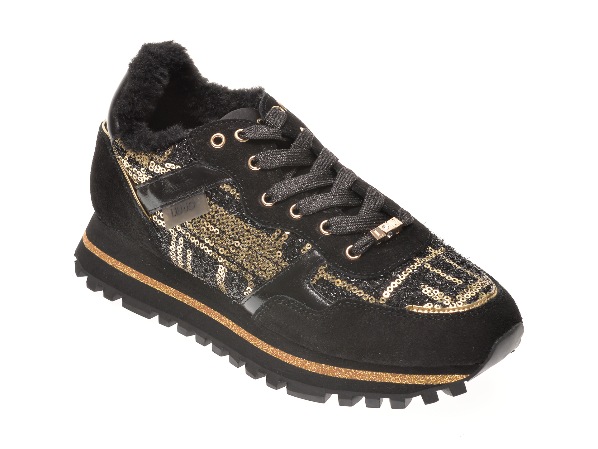 Pantofi Sport Liu Jo Negri, Wonderb, Din Material Textil Si Piele Naturala