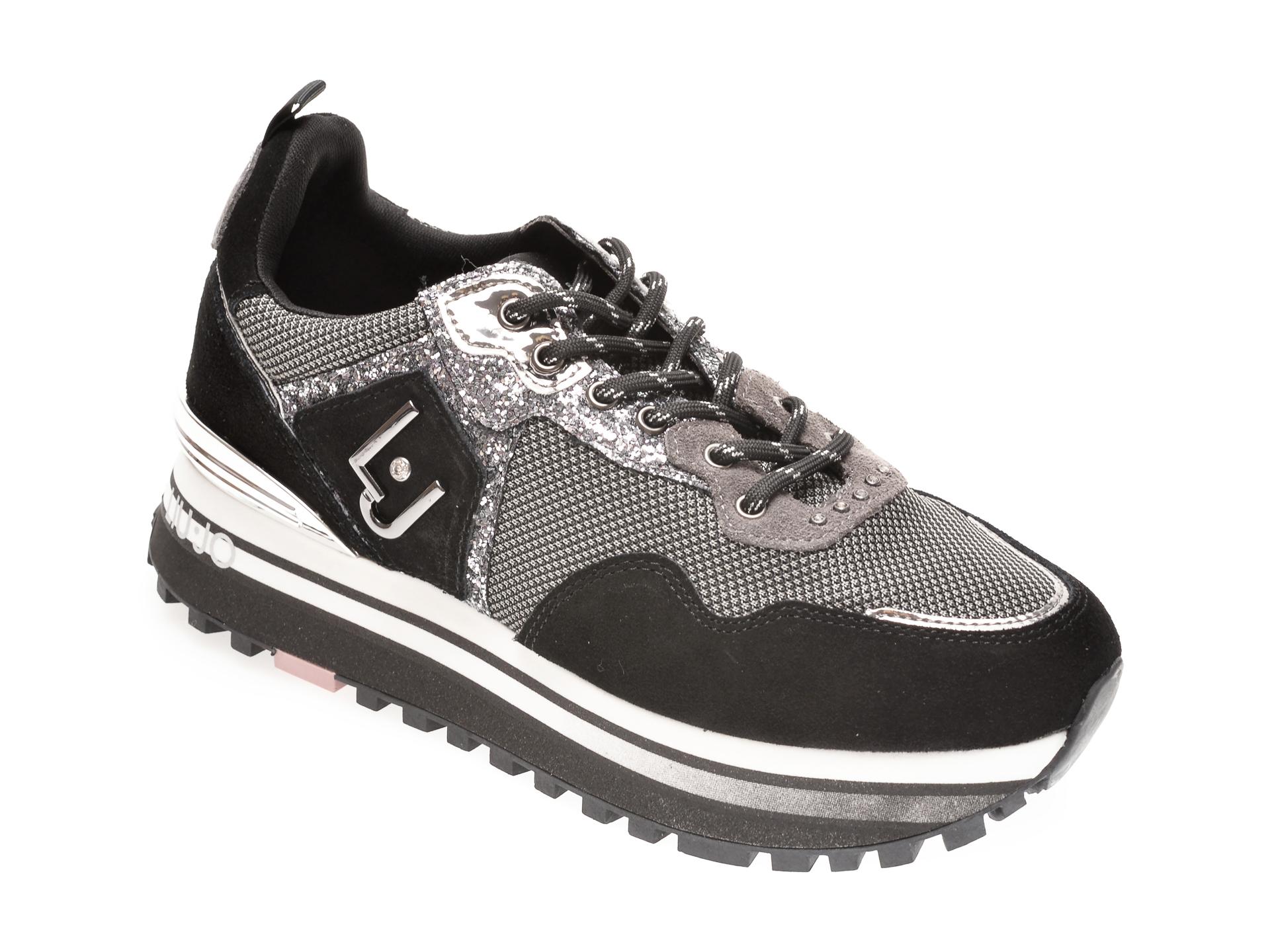 Pantofi sport LIU JO negri, WONMA01, din material textil si piele intoarsa imagine