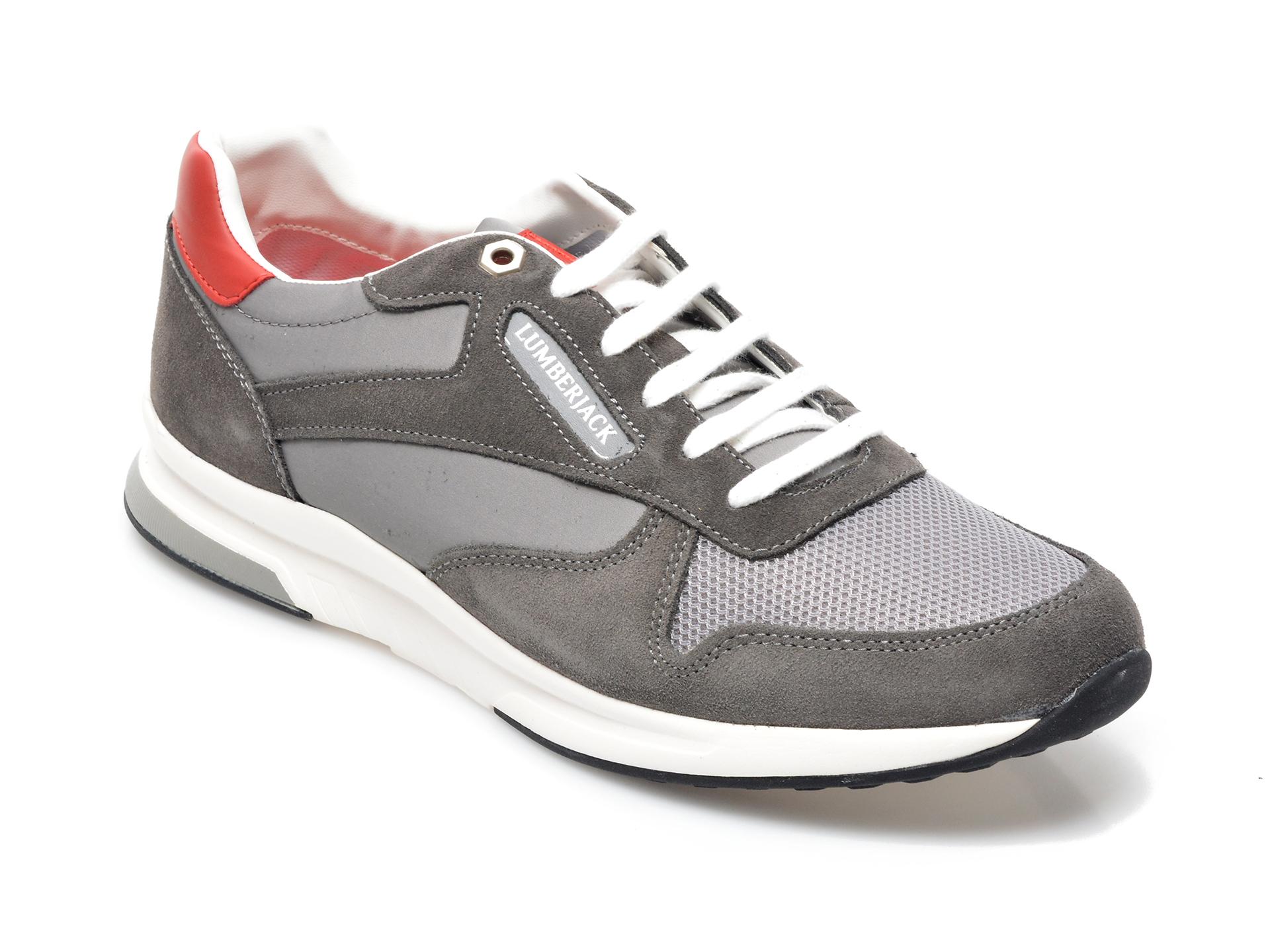 Pantofi sport LUMBERJACK gri, 8701001, din material textil si piele intoarsa imagine otter.ro