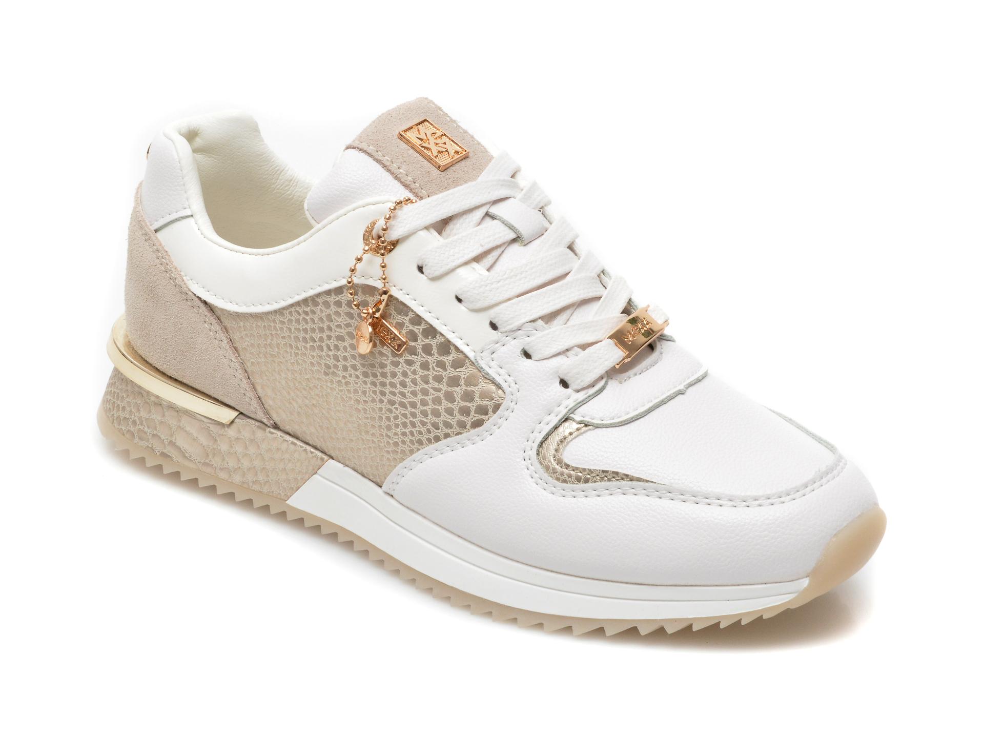 Pantofi sport MEXX albi, K0189, din piele ecologica imagine otter.ro