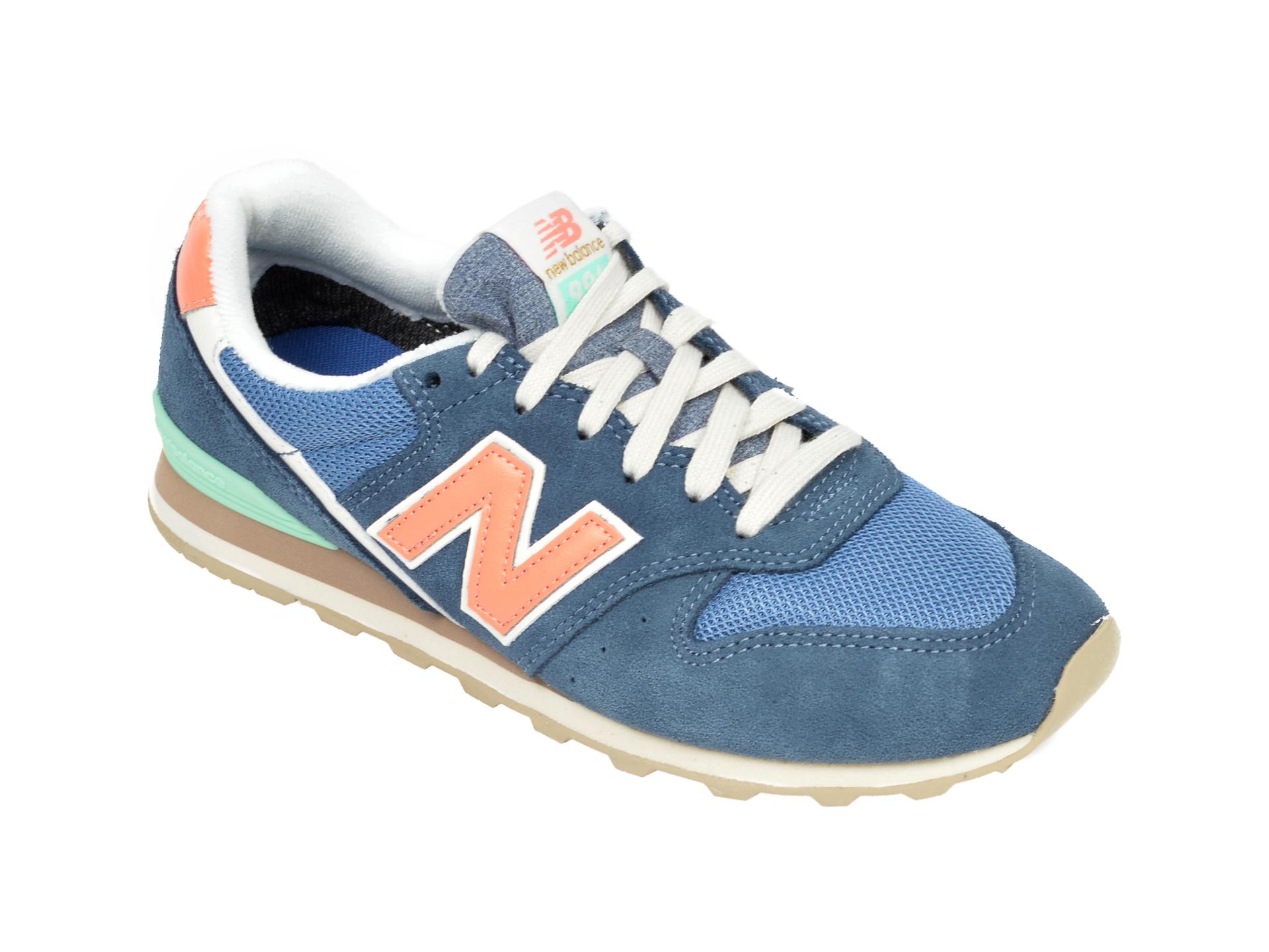 Pantofi sport NEW BALANCE albastri, WL996, din material textil si piele intoarsa