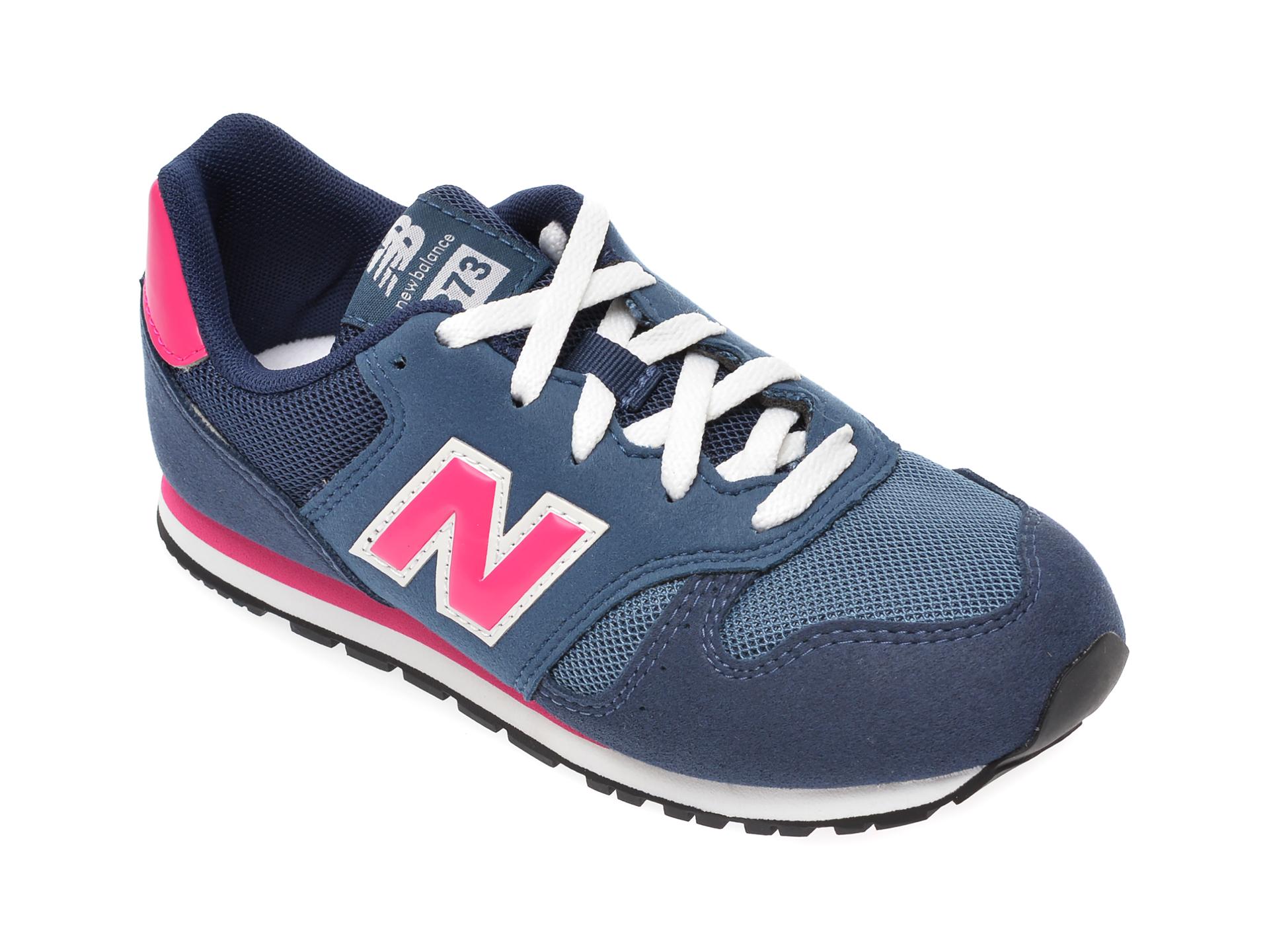 Pantofi sport NEW BALANCE albastri, YC373, din material textil si piele ecologica New
