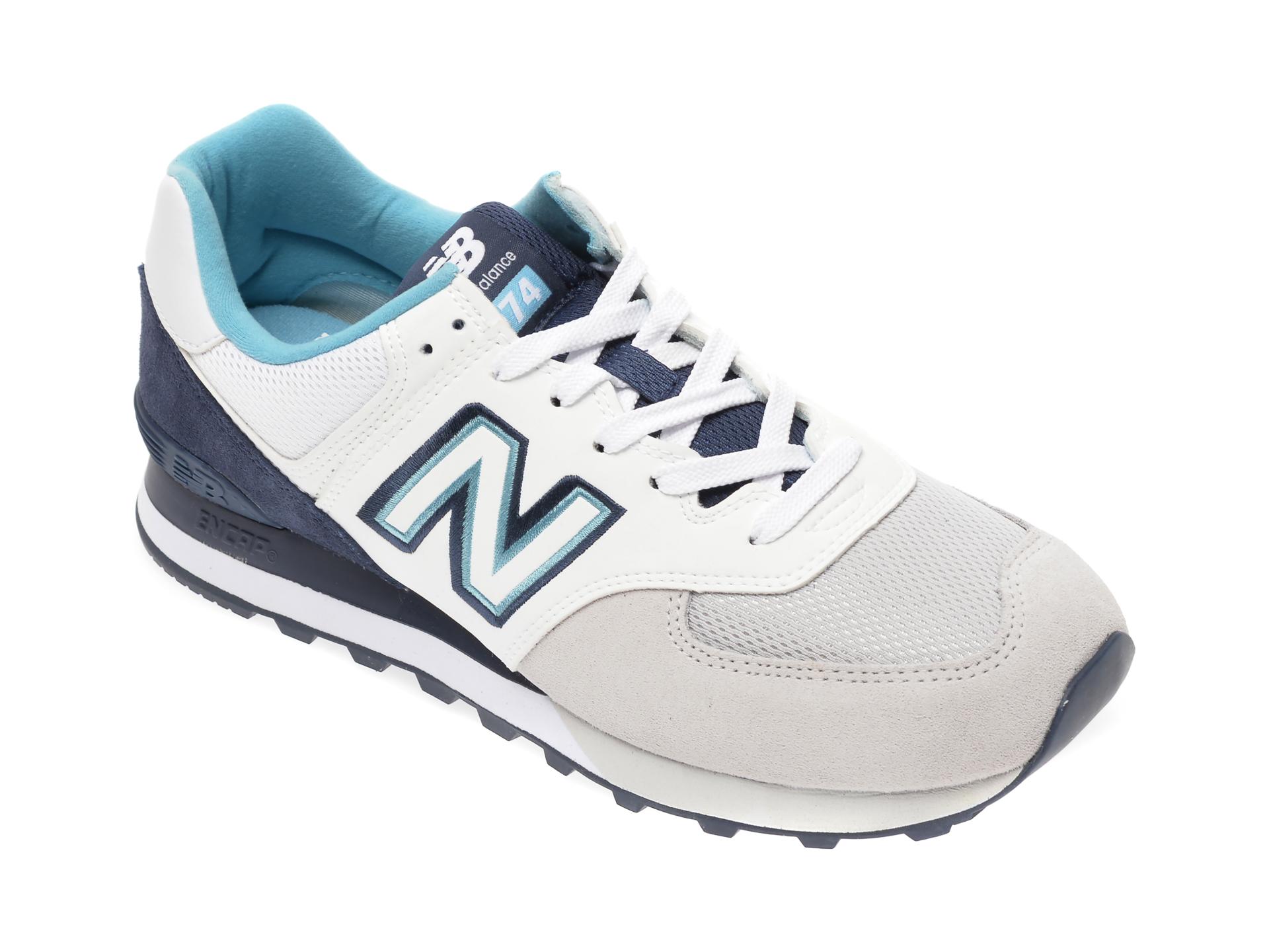 Pantofi sport NEW BALANCE albi, ML574, din material textil si piele naturala imagine