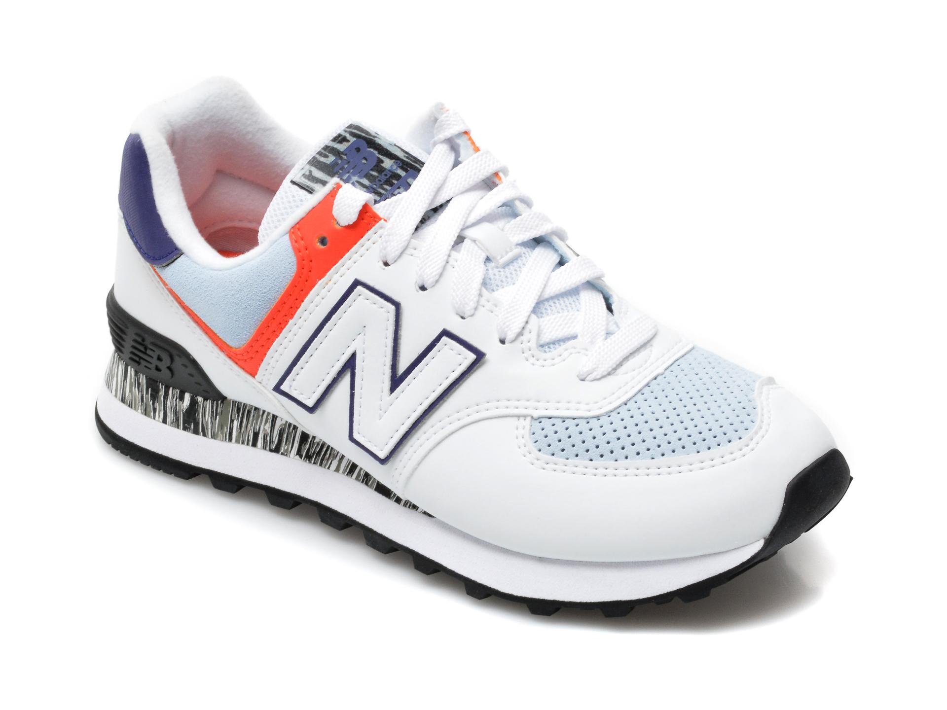 Pantofi sport NEW BALANCE albi, WL574, din material textil si piele naturala imagine otter.ro 2021