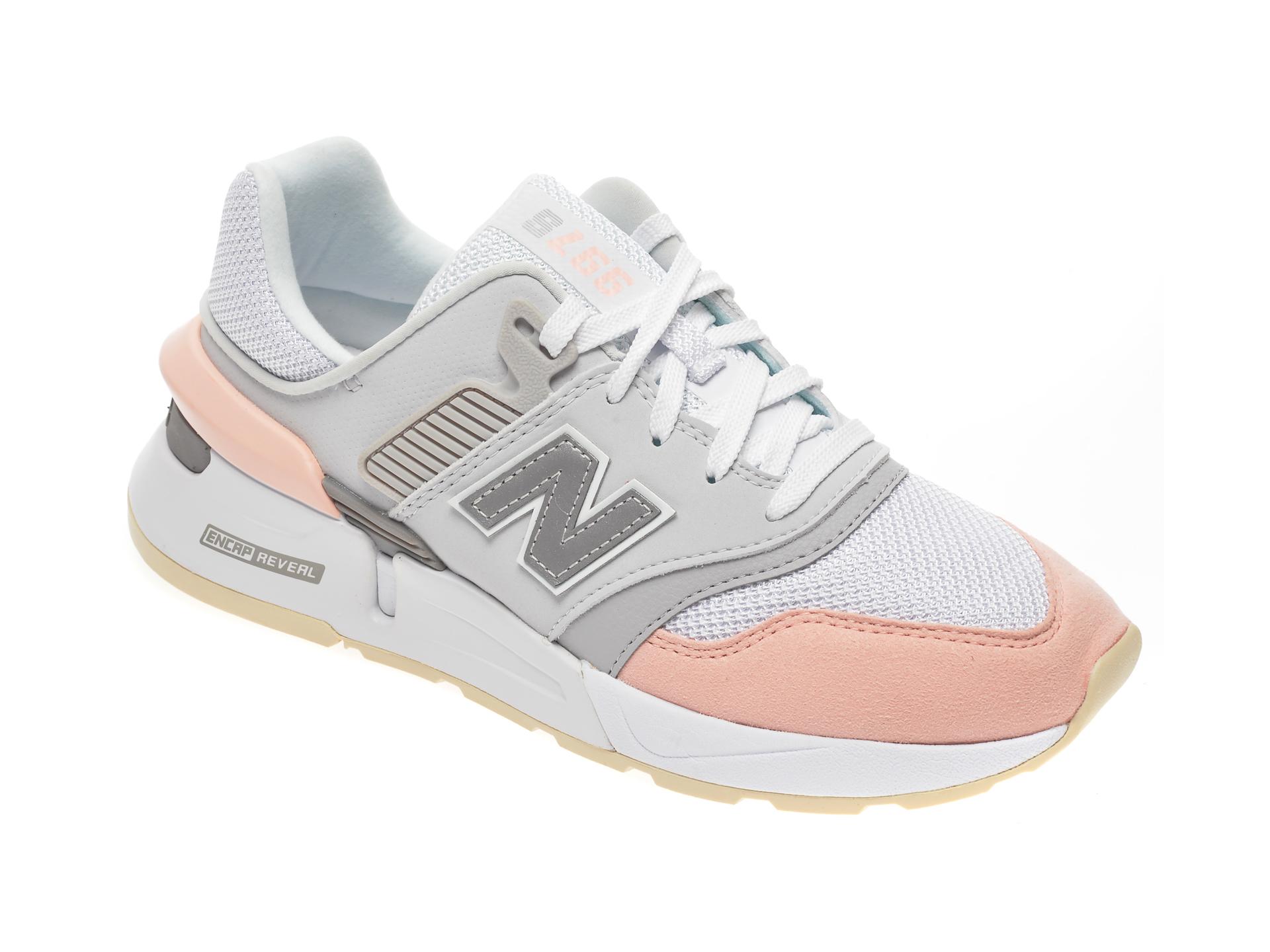 Pantofi sport NEW BALANCE albi, WS997, din material textil si piele ecologica