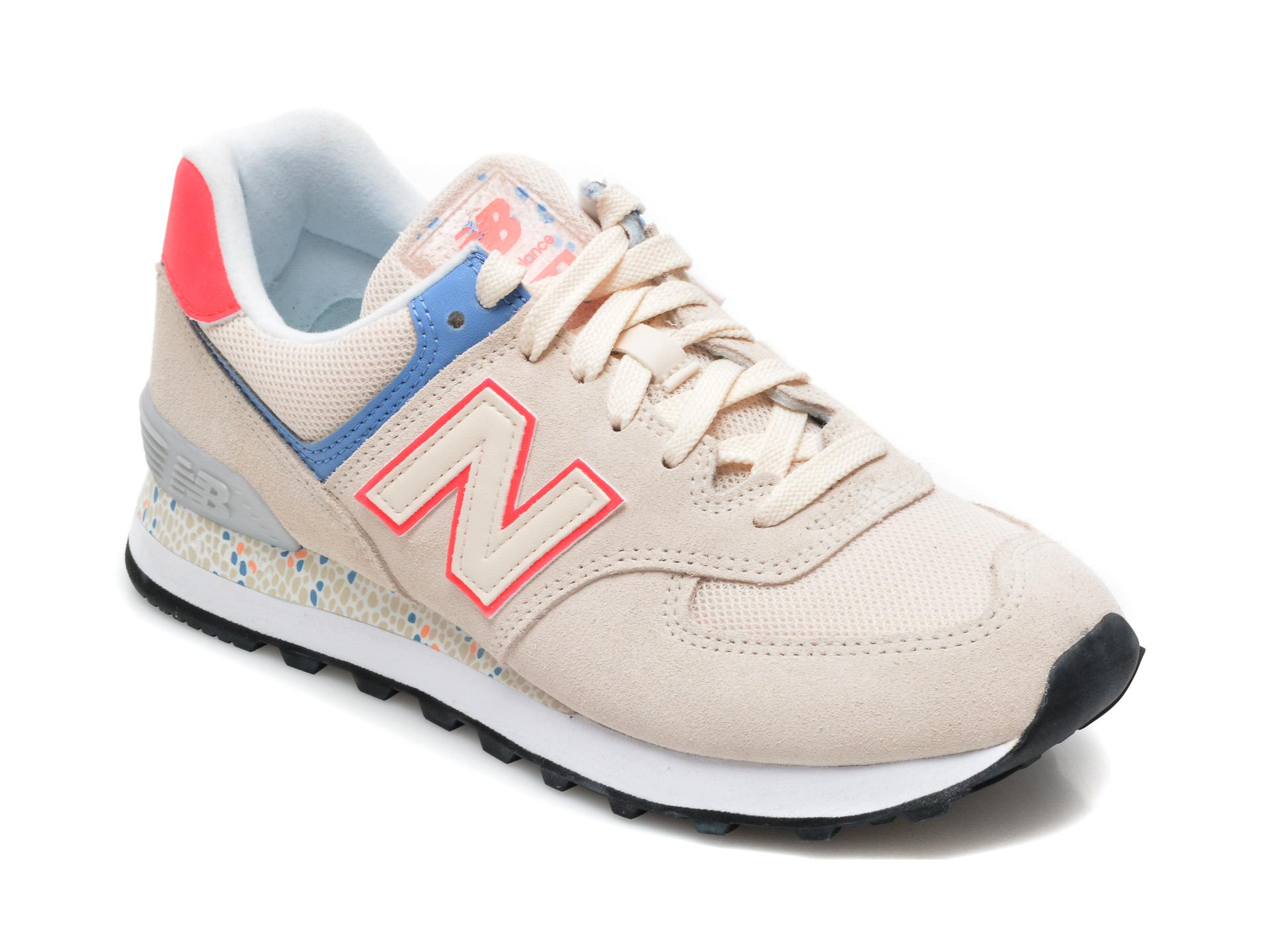 Pantofi sport NEW BALANCE bej, WL574, din material textil si piele naturala imagine otter.ro 2021