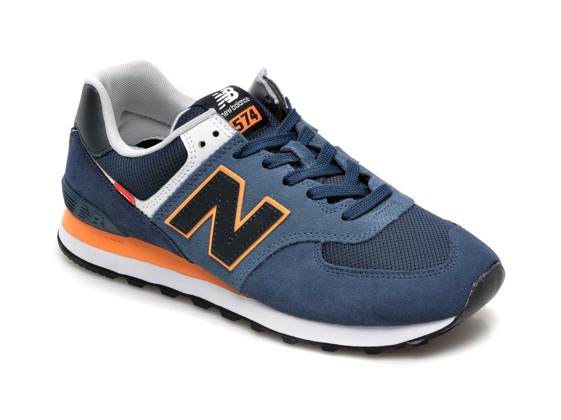 Pantofi sport NEW BALANCE bleumarin, ML574, din material textil si piele intoarsa imagine