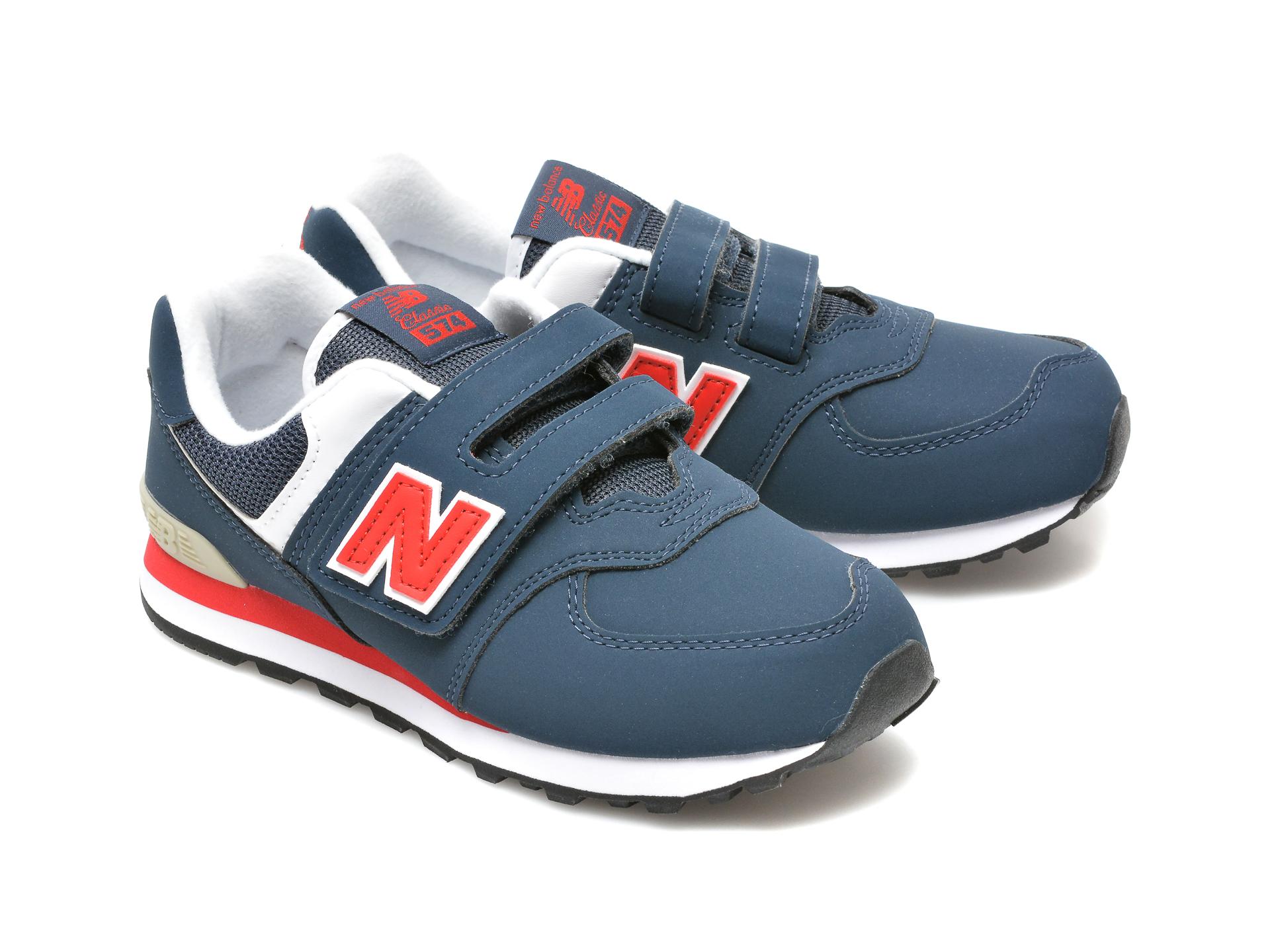 Pantofi sport NEW BALANCE bleumarin, PV574, din material textil si piele ecologica - 4