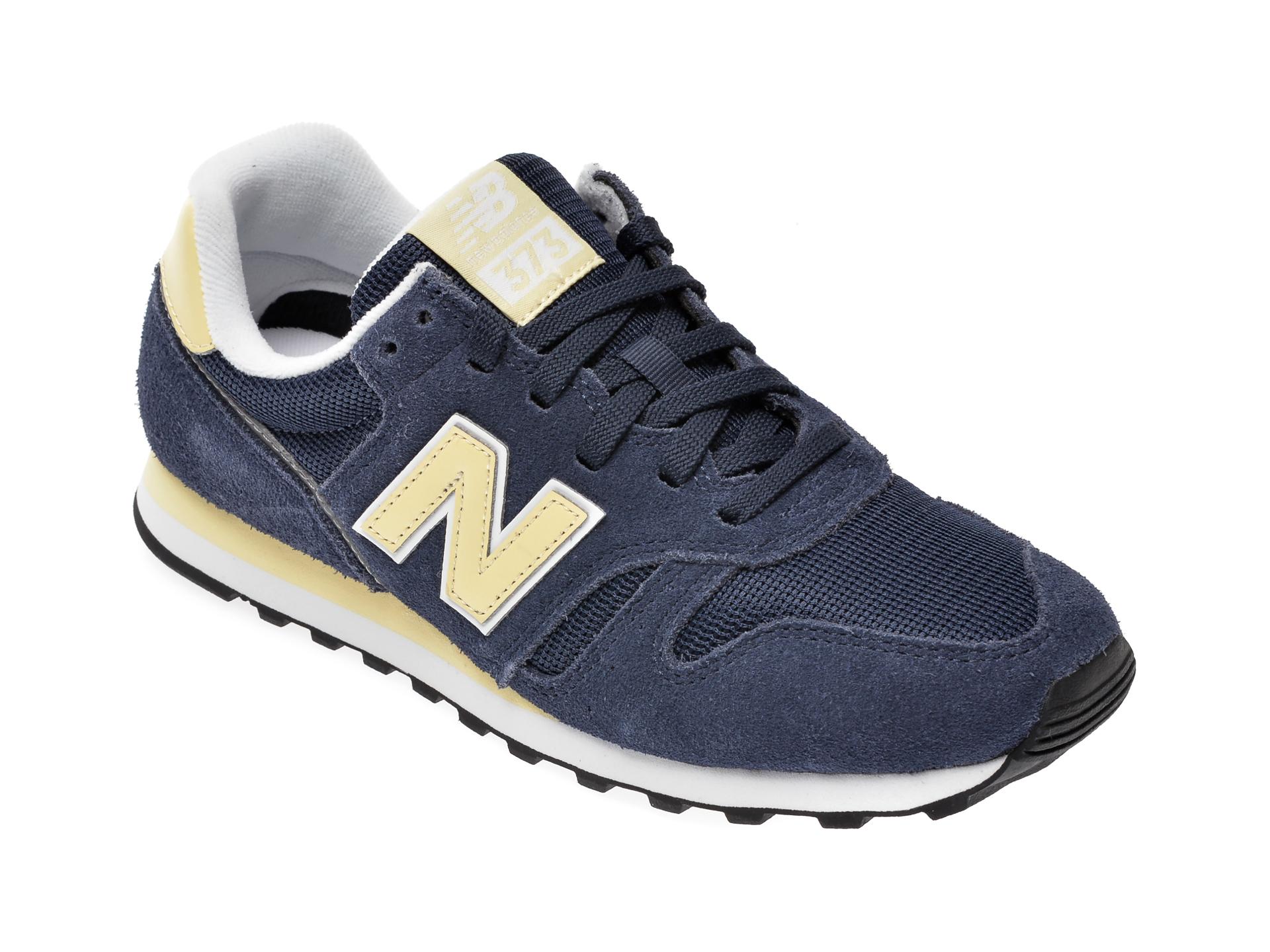 Pantofi sport NEW BALANCE bleumarin, WL373, din material textil si piele intoarsa New