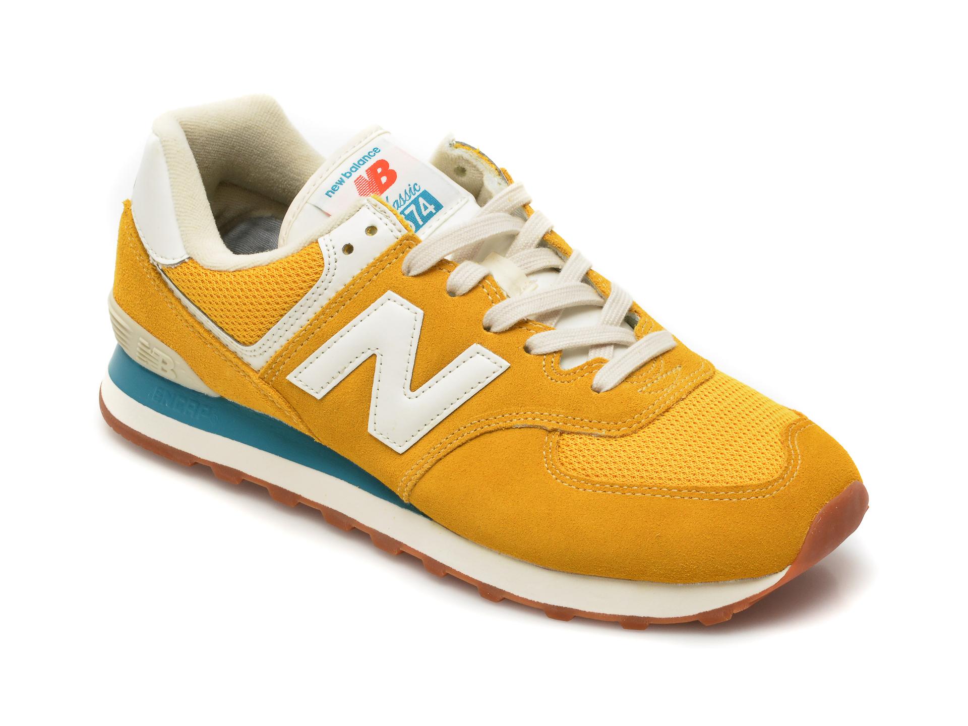 Pantofi sport NEW BALANCE galbeni, ML574, din material textil si piele intoarsa imagine