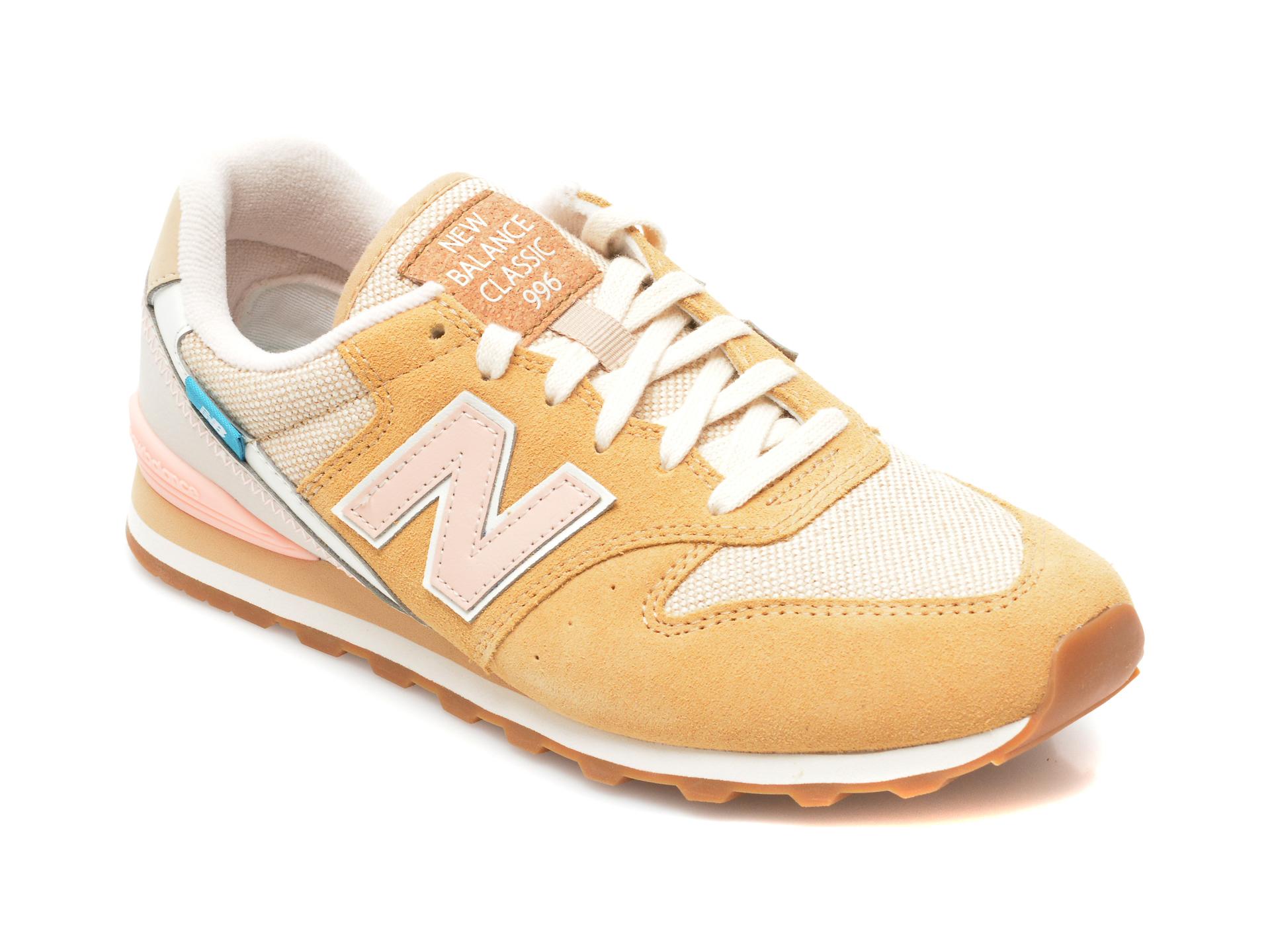 Pantofi sport NEW BALANCE galbeni, WL996, din material textil si piele intoarsa