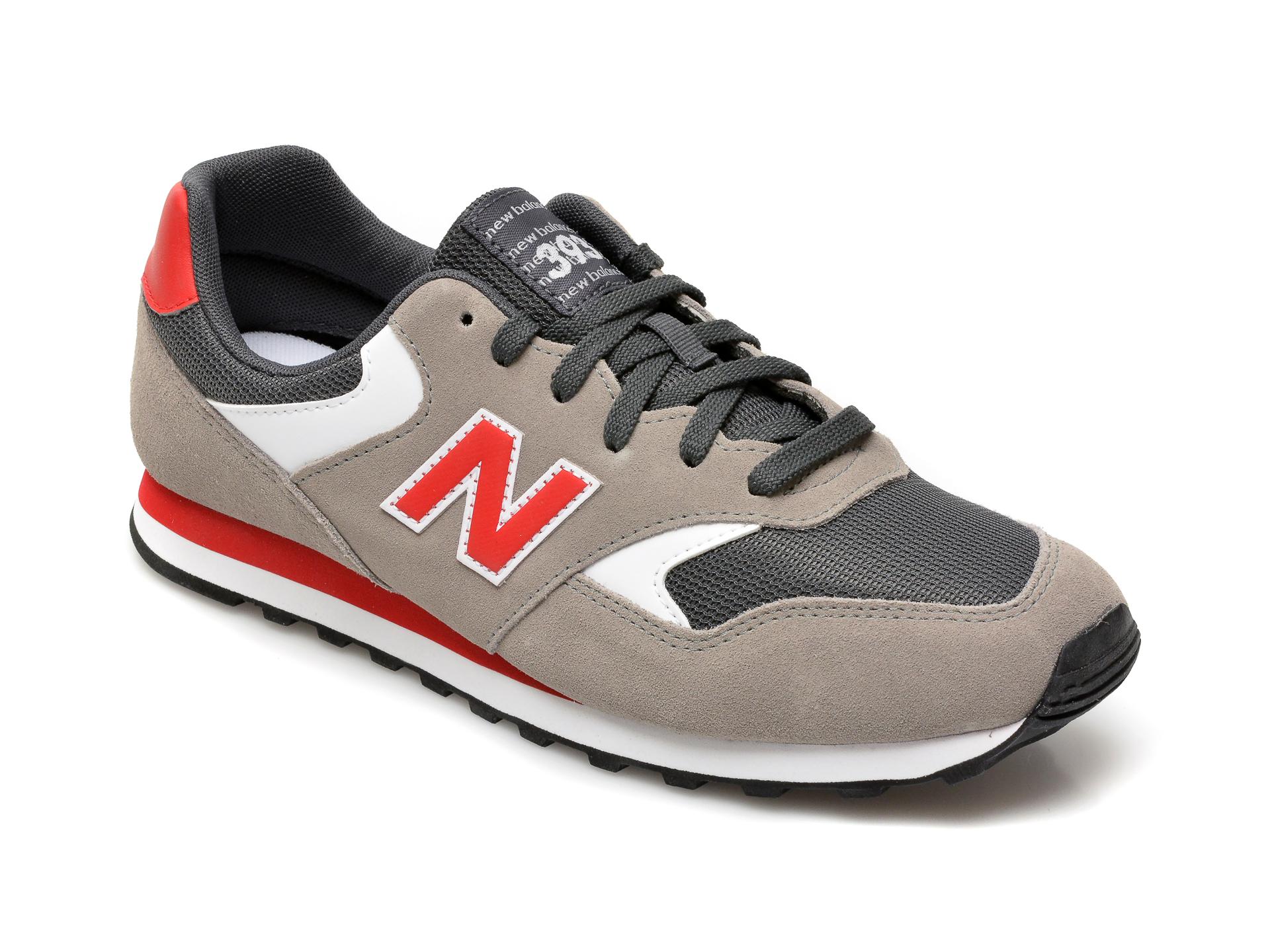 Pantofi sport NEW BALANCE gri, ML393, din material textil si piele intoarsa imagine