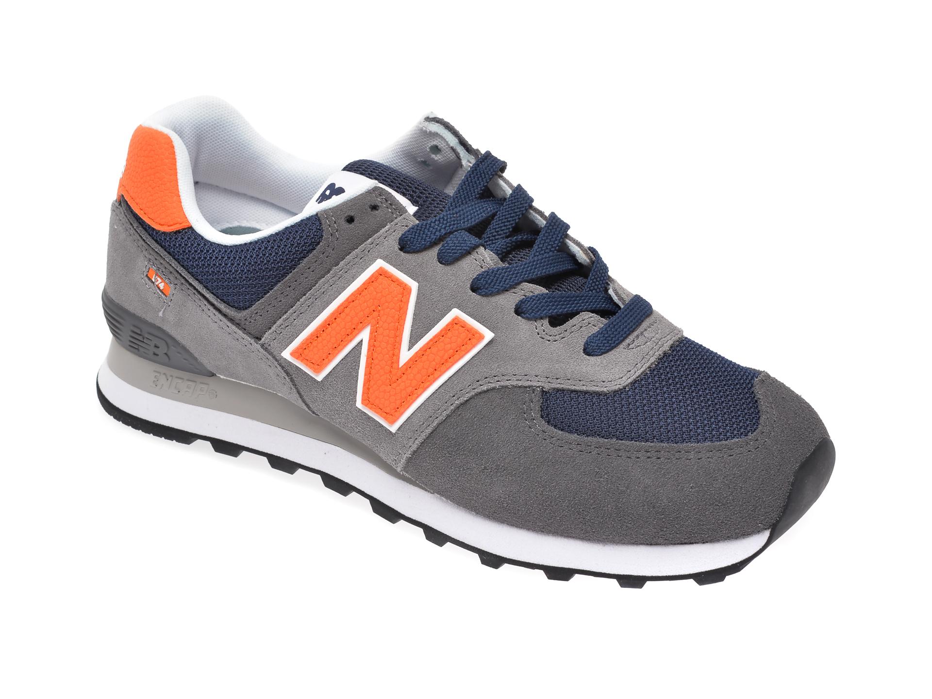Pantofi sport NEW BALANCE gri, ML574, din material textil si piele intoarsa imagine