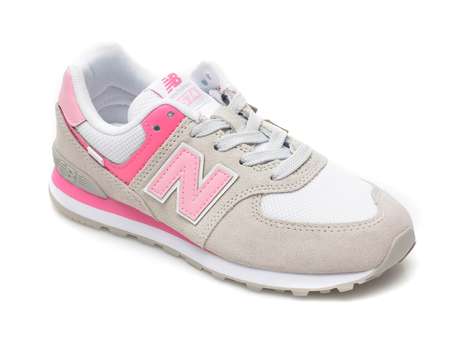 Pantofi sport NEW BALANCE gri, PC574, din material textil si piele intoarsa