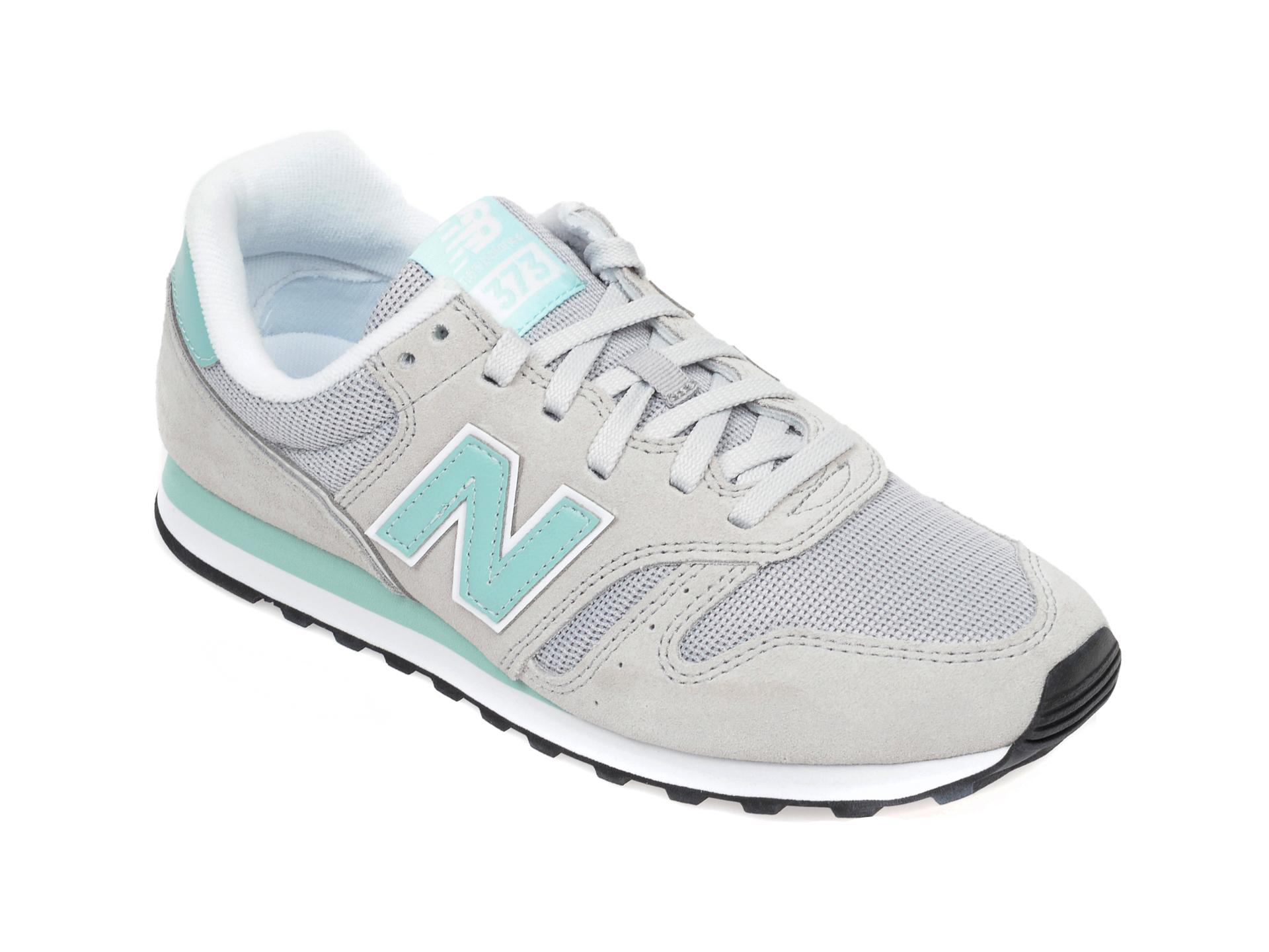 Pantofi sport NEW BALANCE gri, WL373, din material textil si piele natural imagine