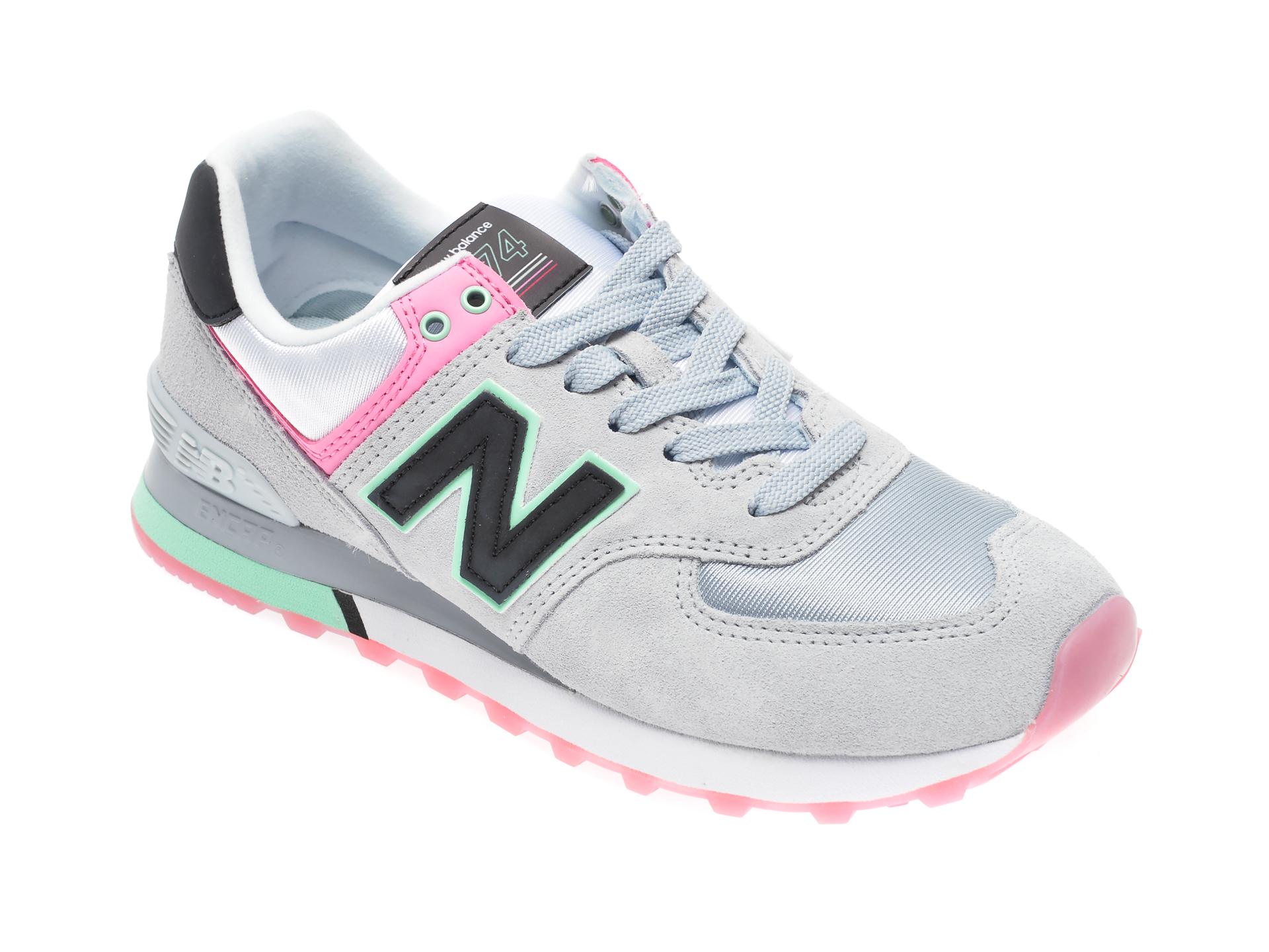 Pantofi sport NEW BALANCE gri, WL574, din material textil si piele intoarsa