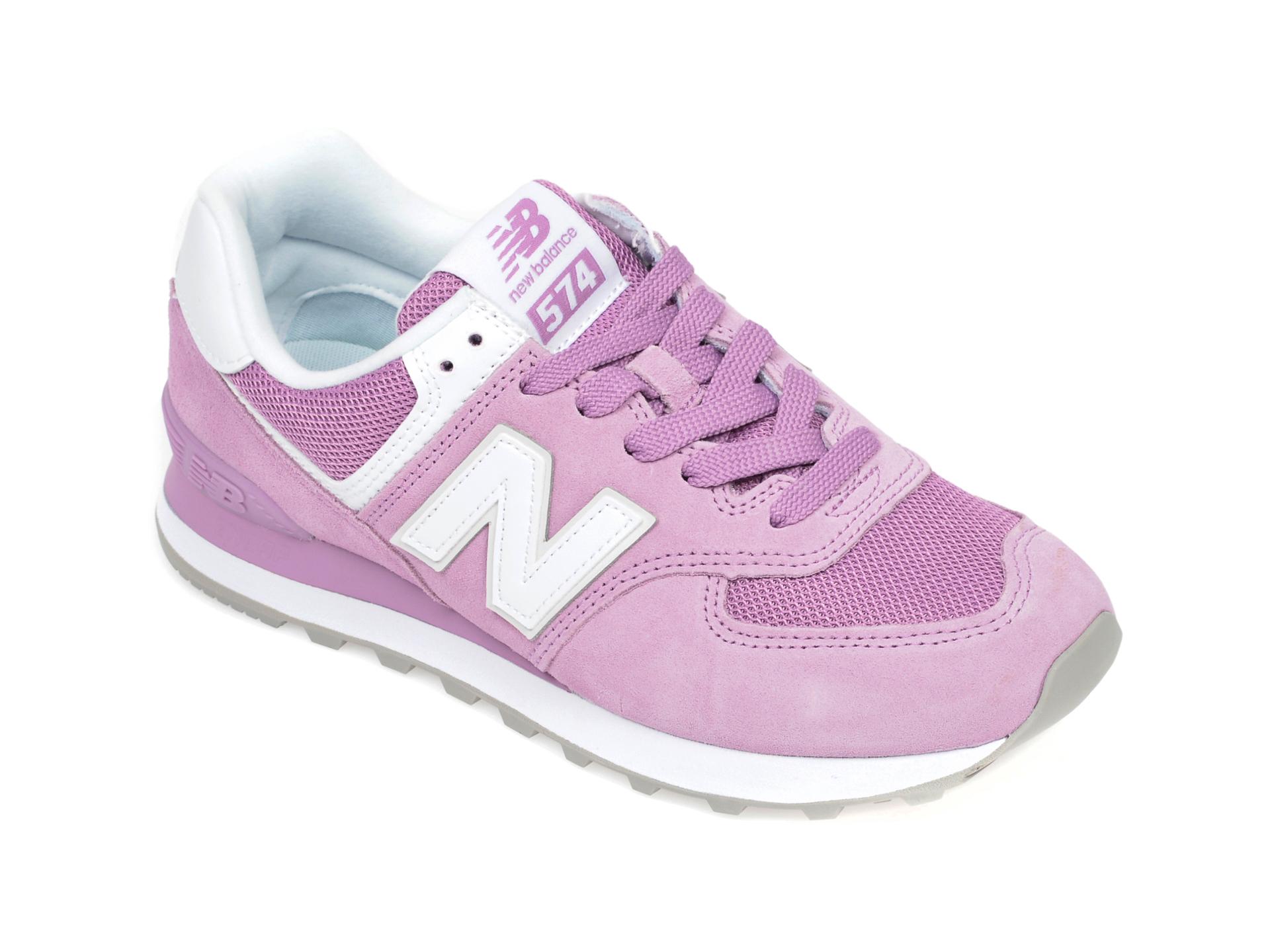 Pantofi sport NEW BALANCE mov, WL574, din material textil si piele intoarsa New