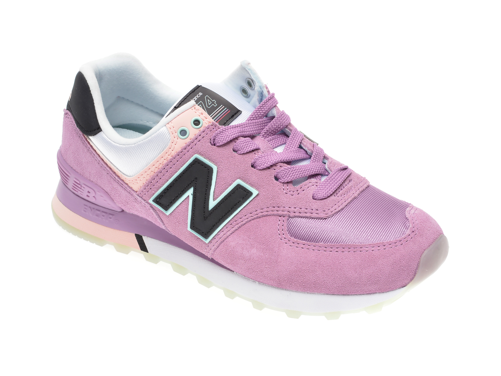 Pantofi sport NEW BALANCE mov, WL574, din material textil si piele intoarsa imagine