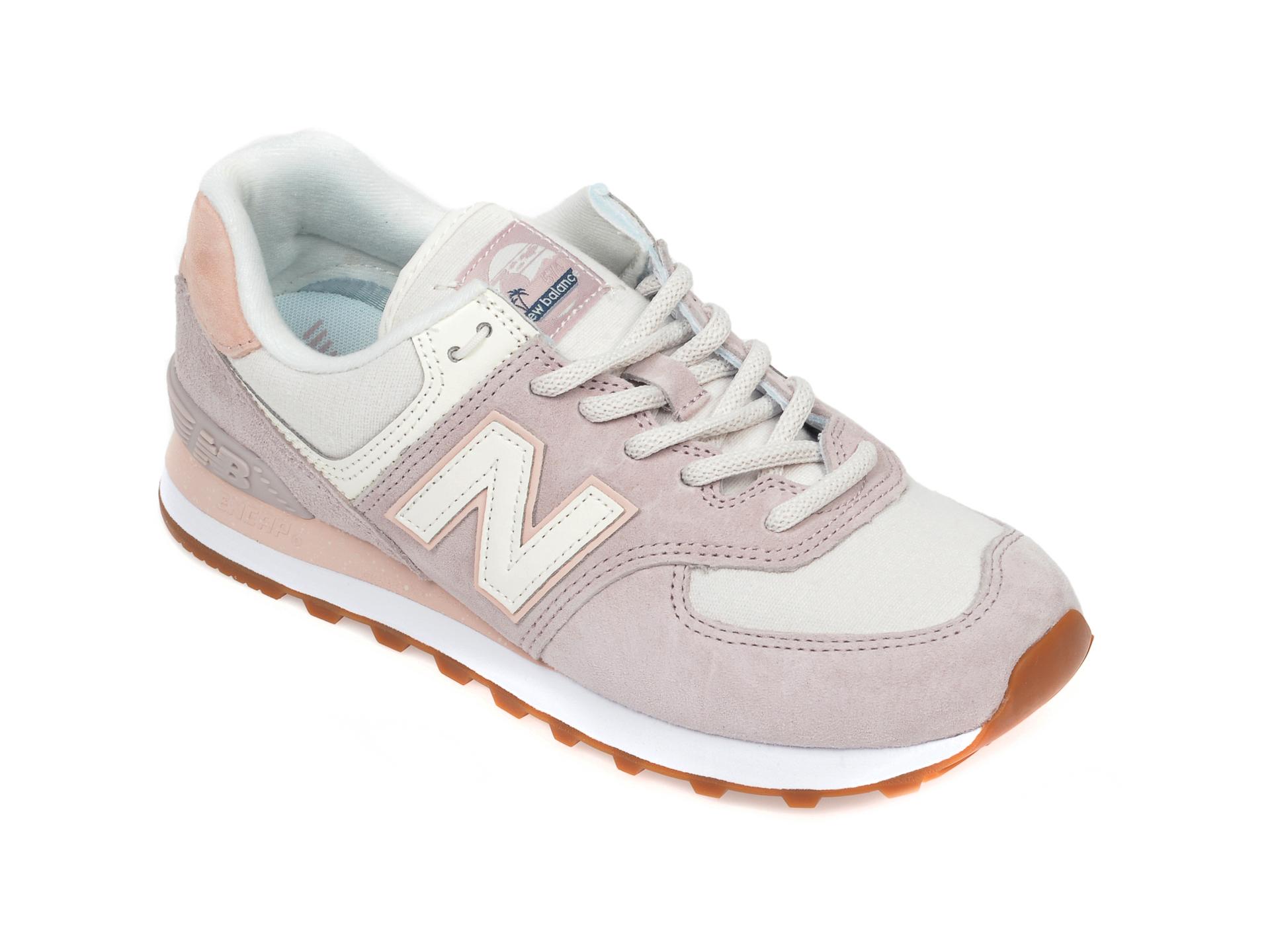 Pantofi sport NEW BALANCE mov, WL574, din material textil si piele intoarsa