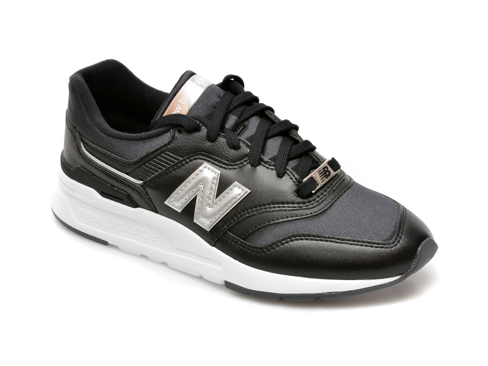 Pantofi sport NEW BALANCE negri, CW997, din material textil si piele naturala New