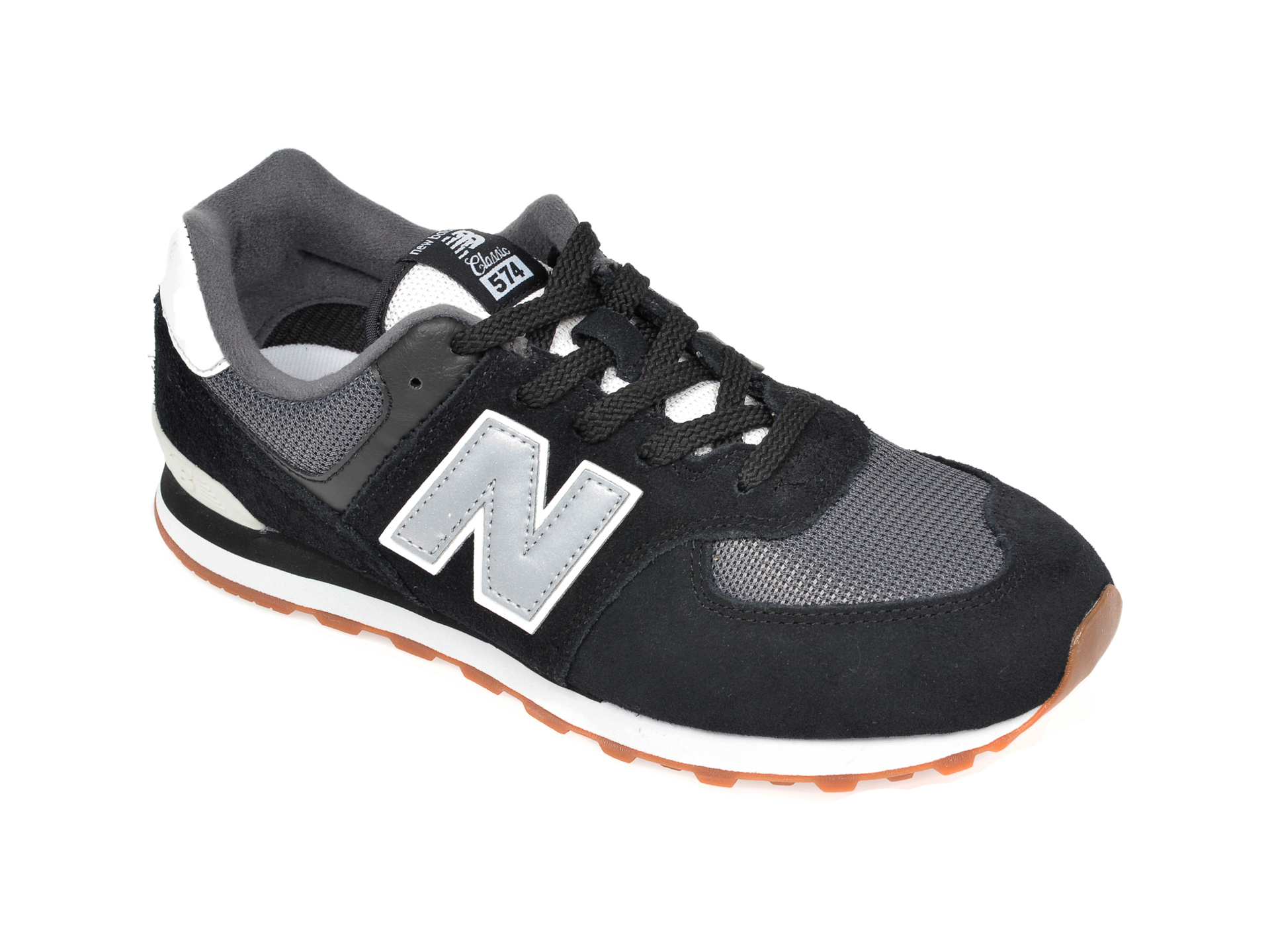 Pantofi sport NEW BALANCE negri, GC574, din material textil si piele naturala New