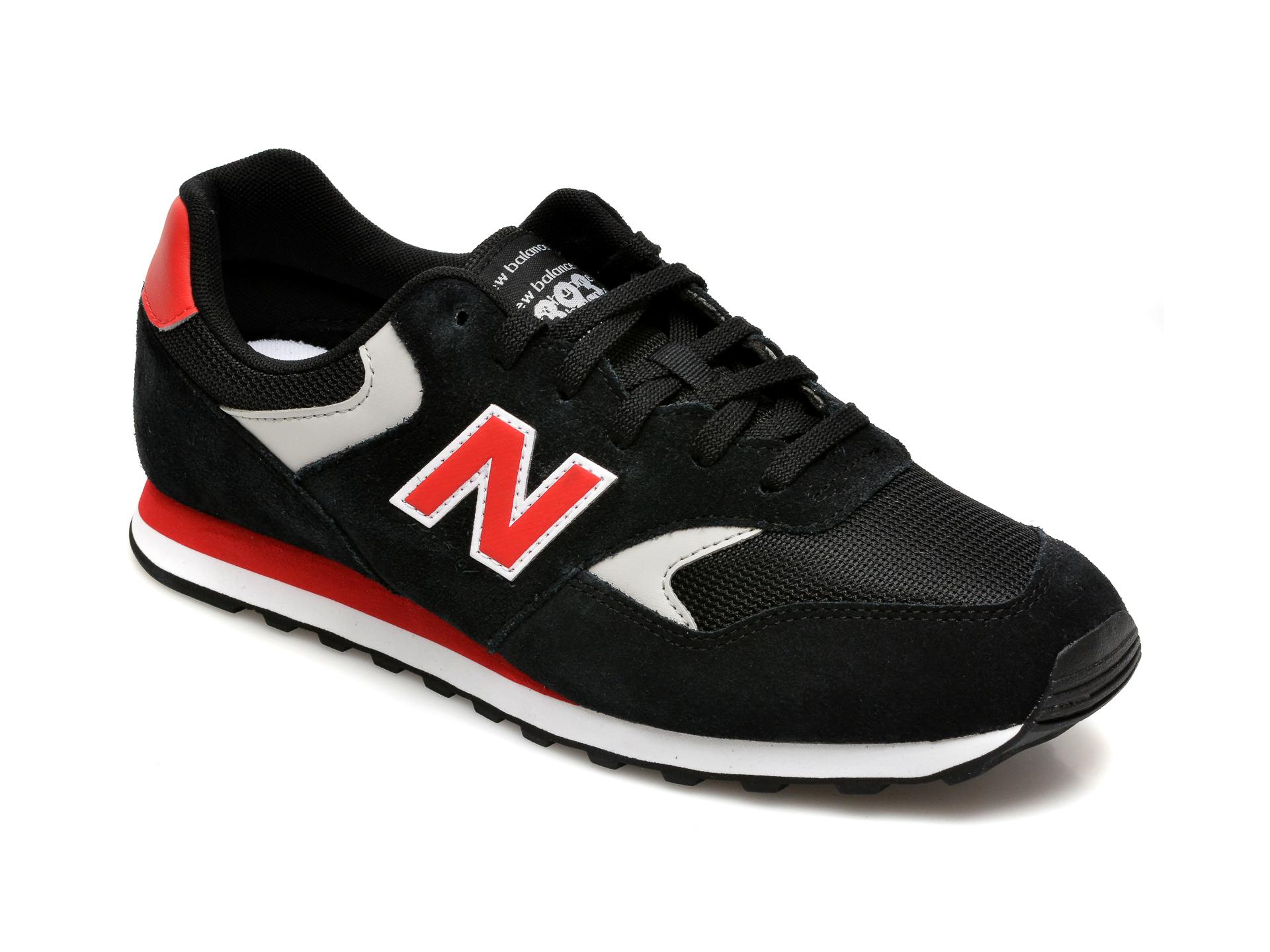 Pantofi sport NEW BALANCE negri, ML393, din material textil si piele intoarsa imagine