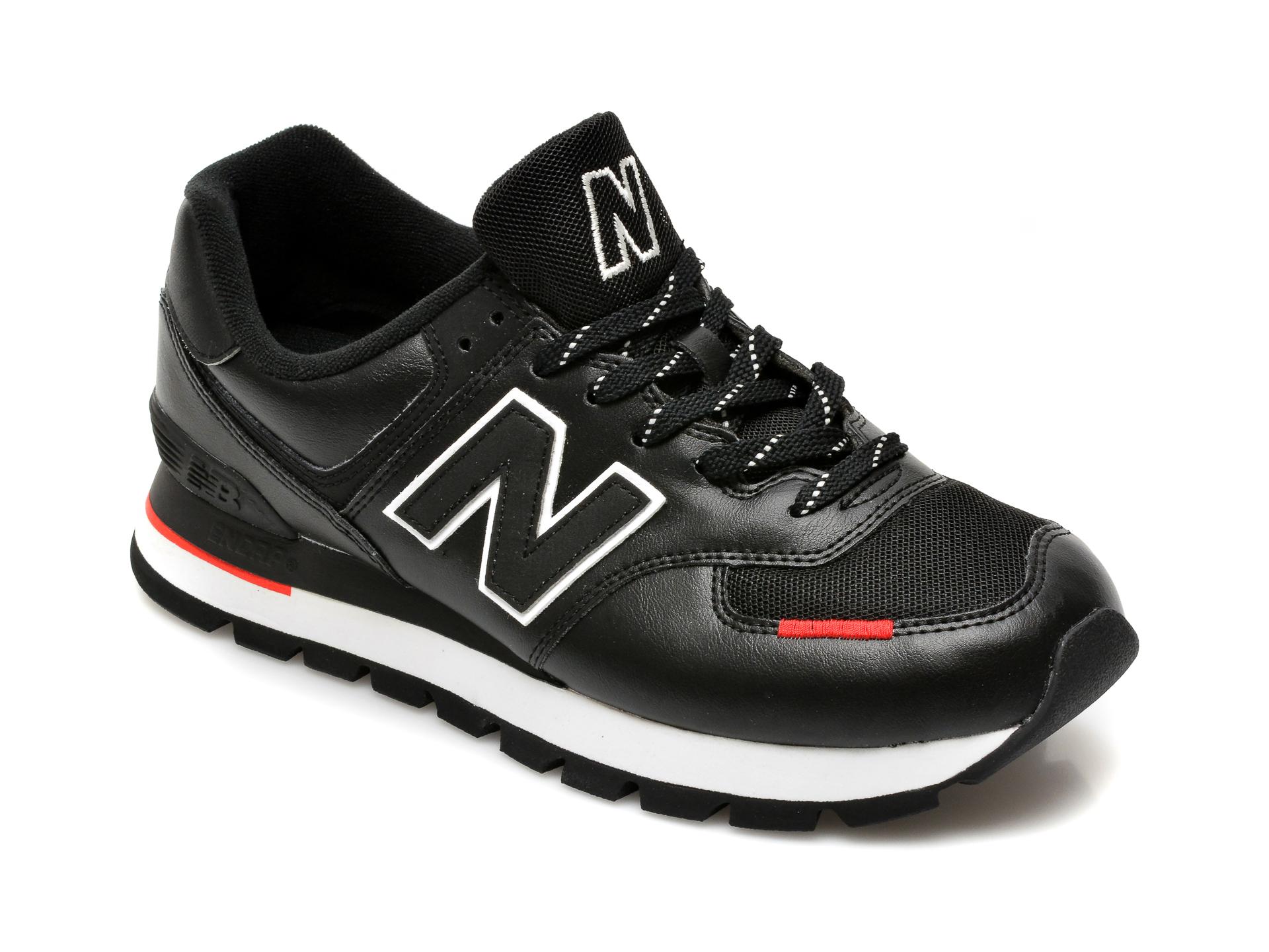 Pantofi sport NEW BALANCE negri, ML574, din material textil si piele ecologica imagine