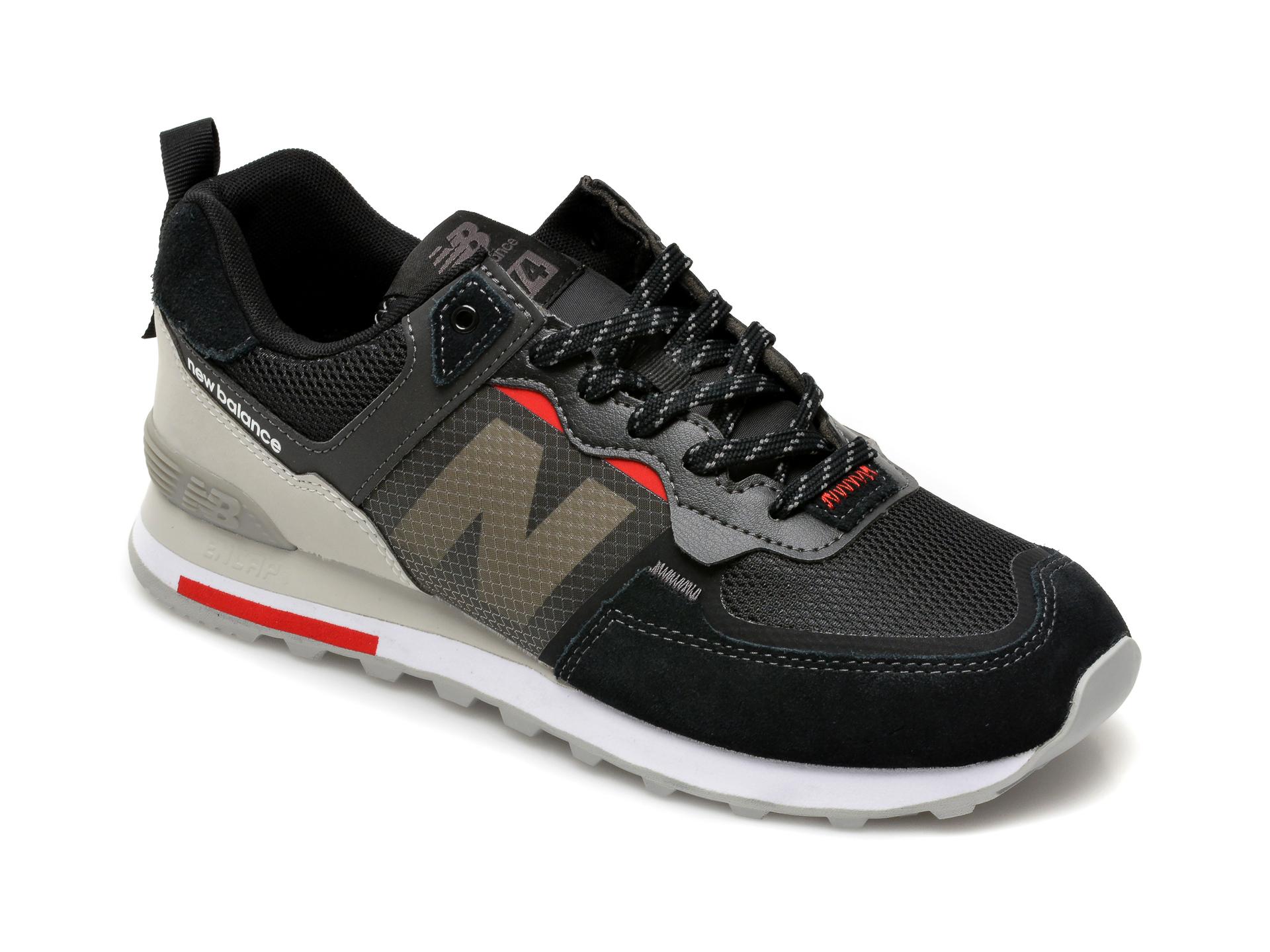 Pantofi sport NEW BALANCE negri, ML574, din material textil si piele intoarsa imagine