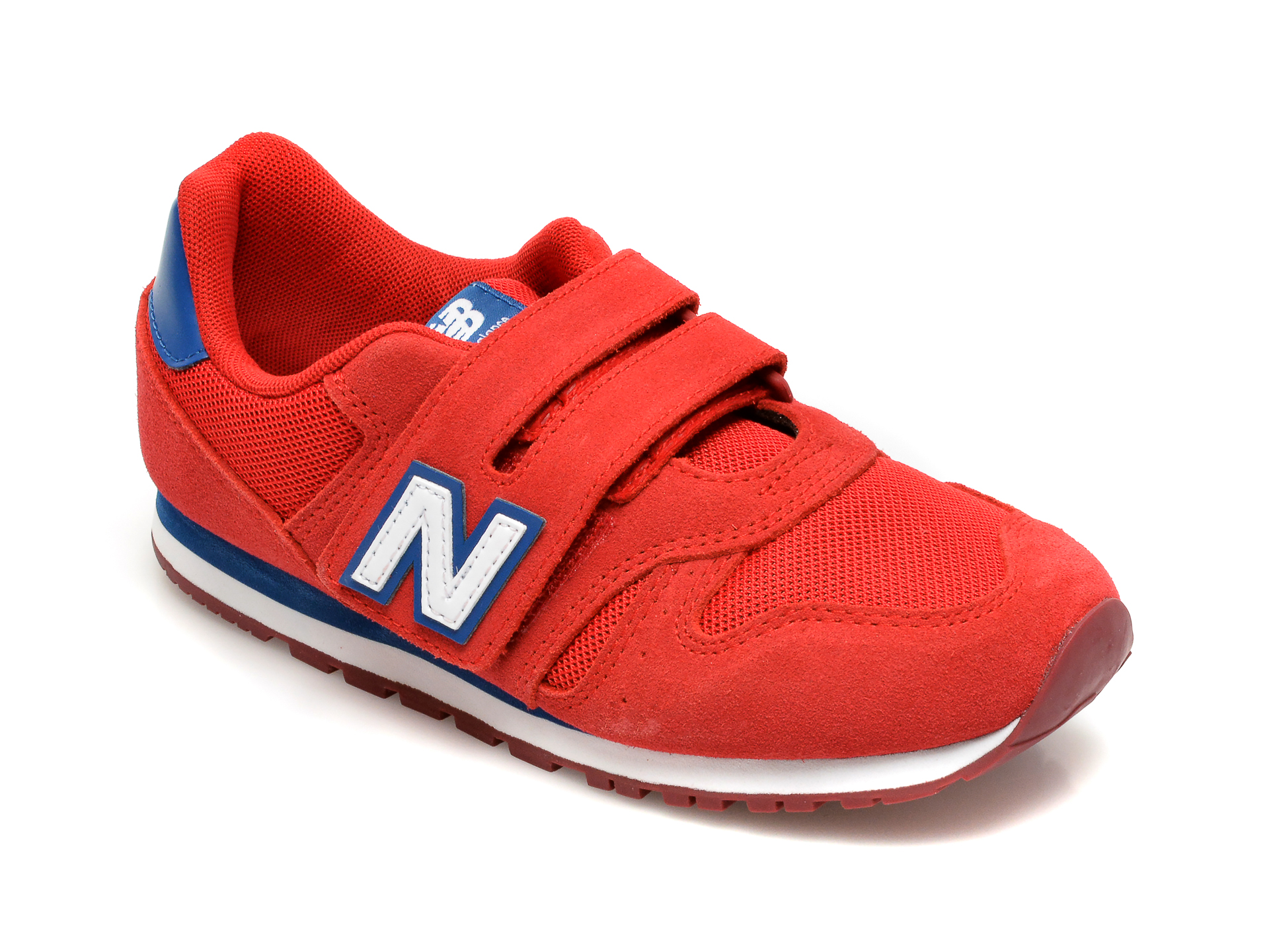 Pantofi sport NEW BALANCE rosii, YV373, din material textil si piele intoarsa