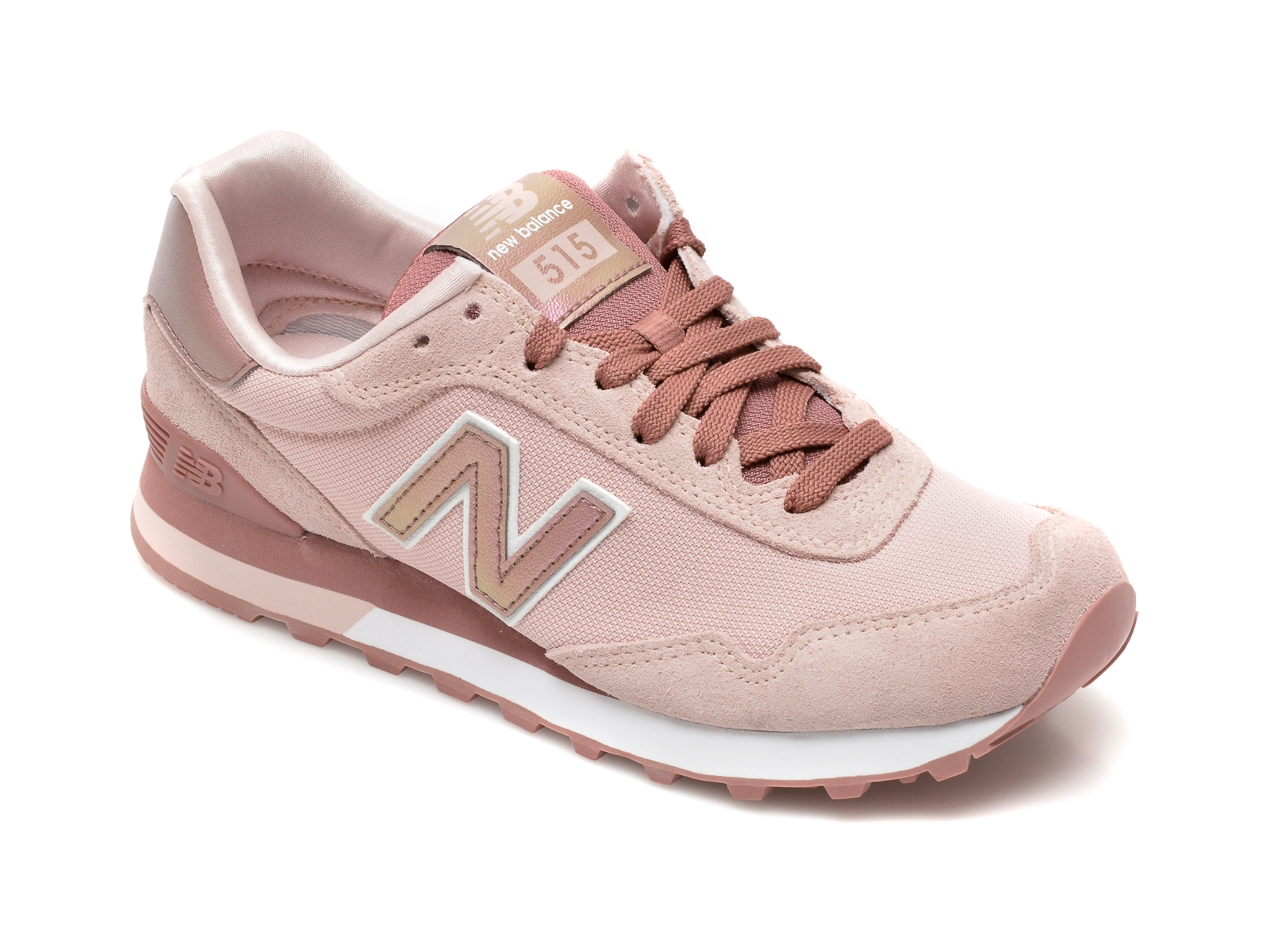 Pantofi sport NEW BALANCE roz, WL515, din material textil si piele intoarsa imagine otter.ro