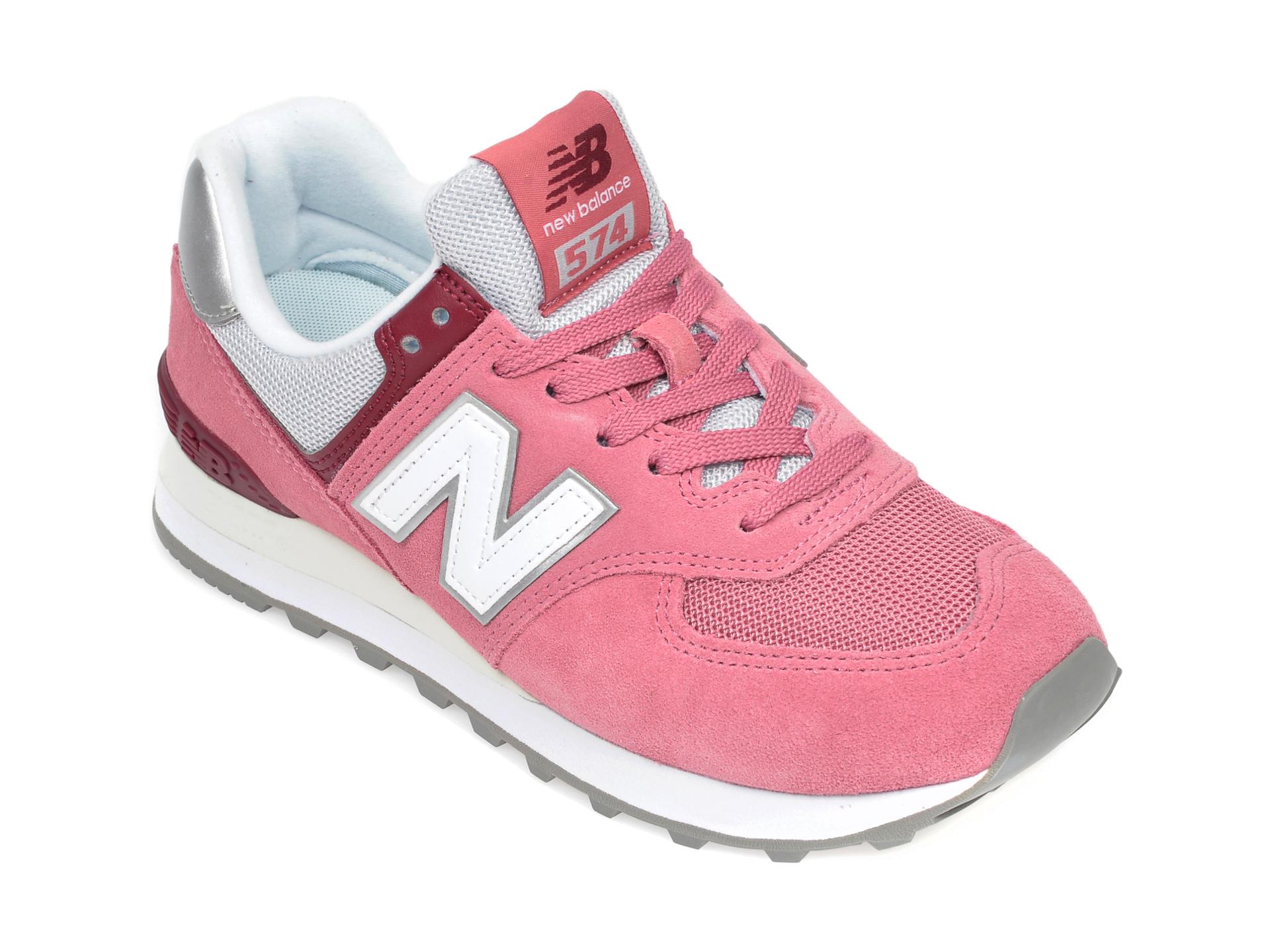 Pantofi sport NEW BALANCE roz, WL574, din material textil si piele intoarsa