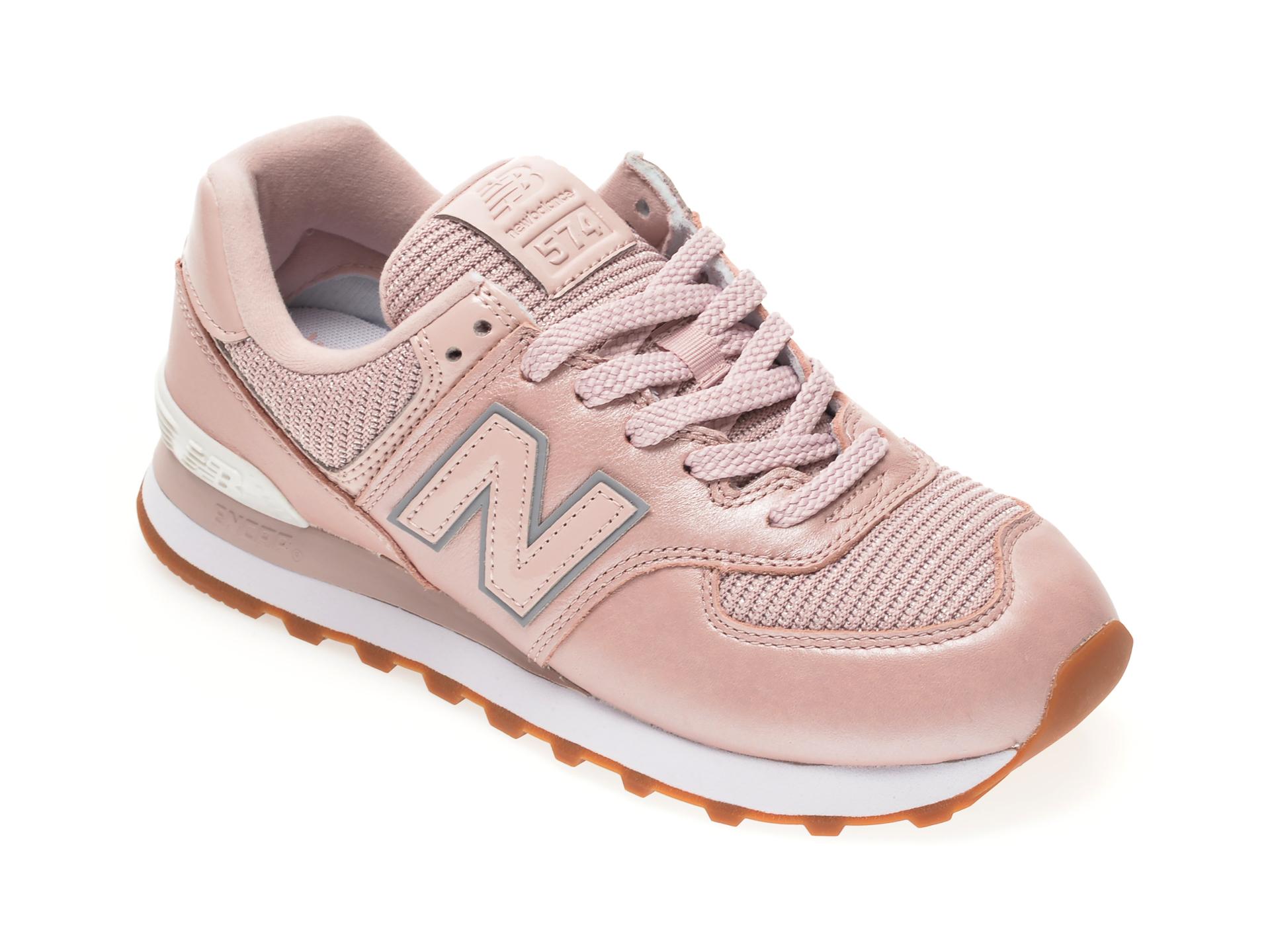 Pantofi sport NEW BALANCE roz, WL574, din material textil si piele naturala imagine