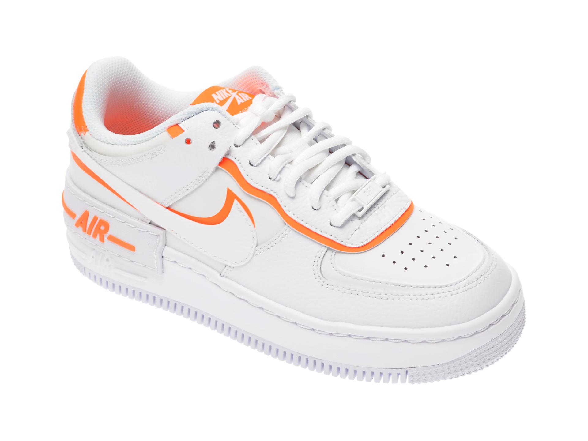 Pantofi sport NIKE albi, Af1 Shadow, din piele naturala si piele ecologica