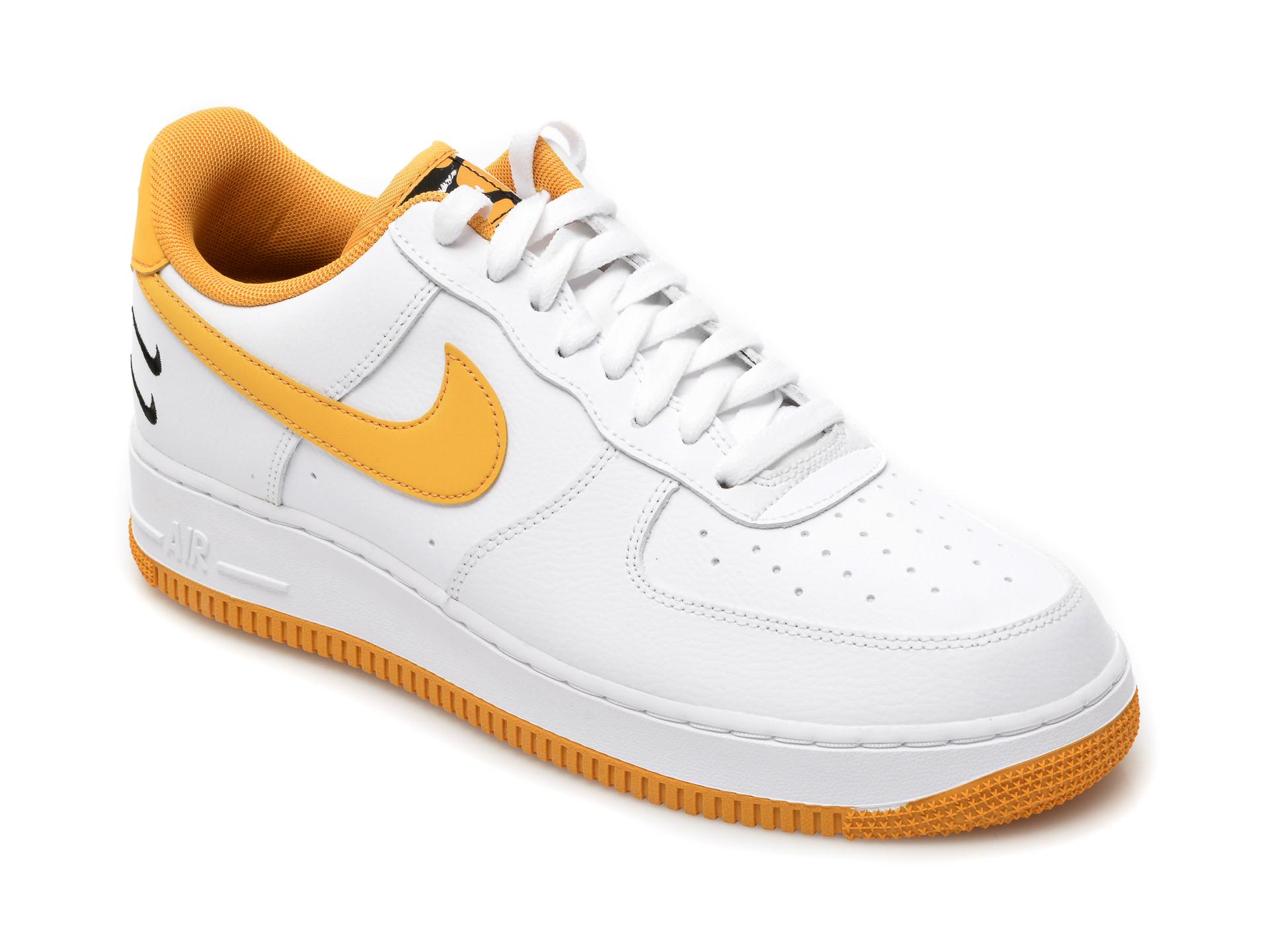 Pantofi sport NIKE albi, Air Force 1 07, din piele naturala New