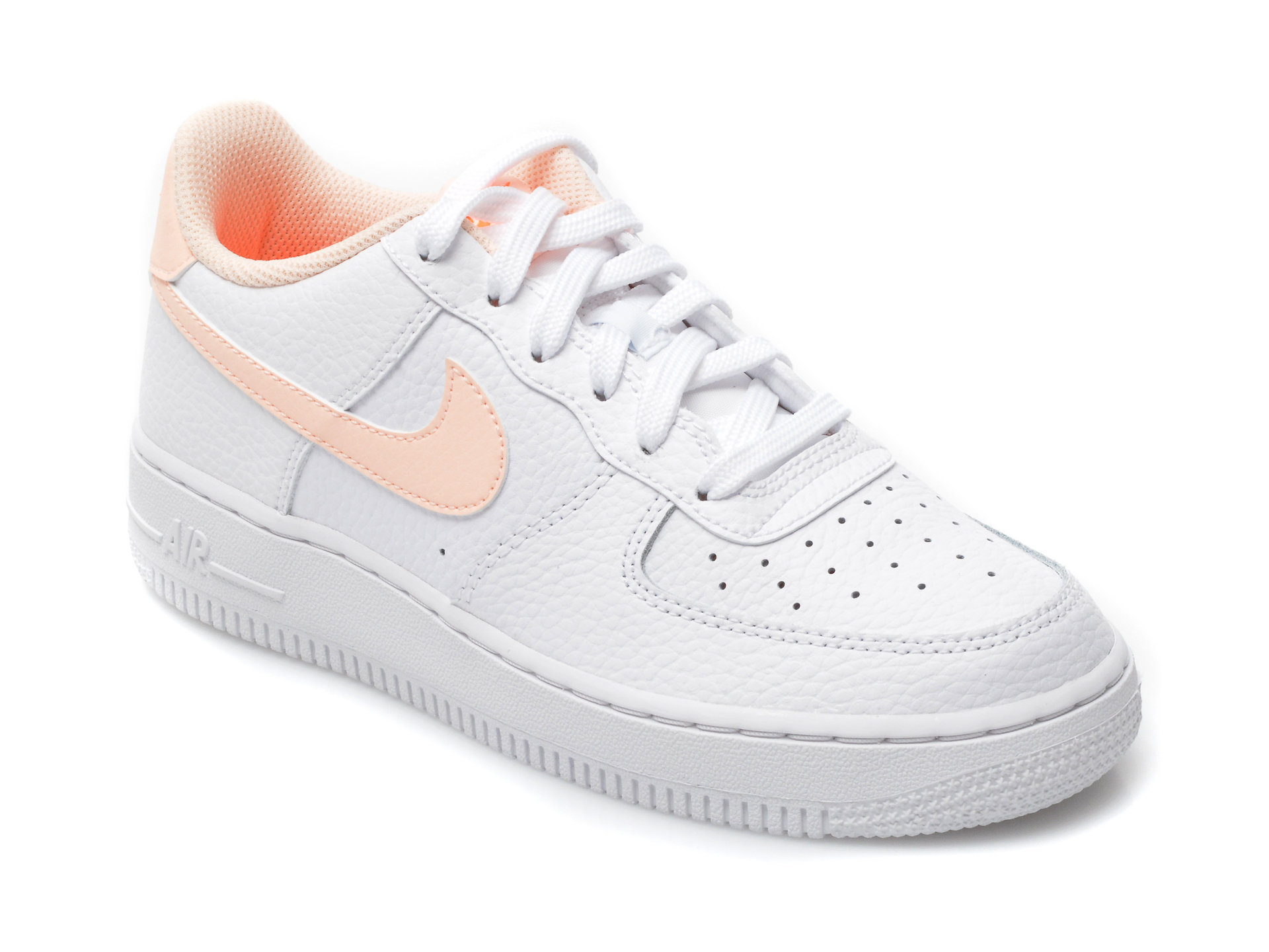 Pantofi sport NIKE albi, AIR FORCE 1 (GS), din piele naturala