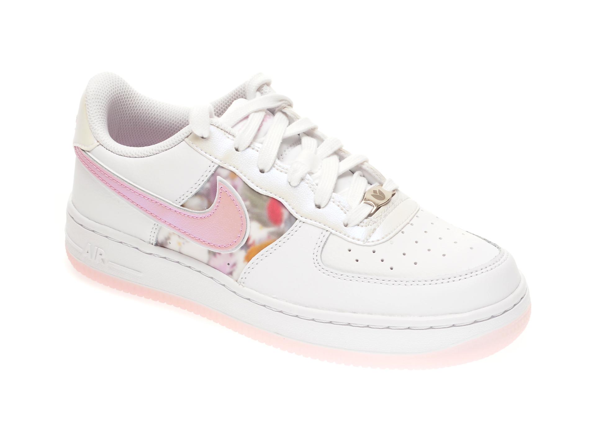 Pantofi sport NIKE albi, AIR FORCE 1 LV8 FA20 GG, din piele naturala