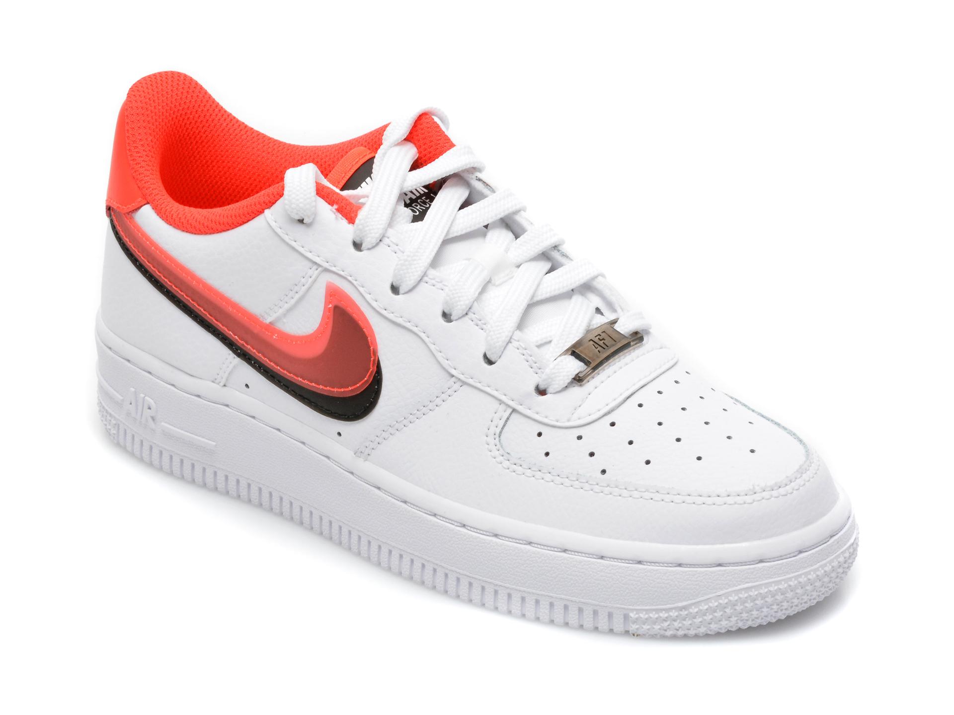 Pantofi sport NIKE albi, Air Force 1 Lv8 (Gs), din piele naturala