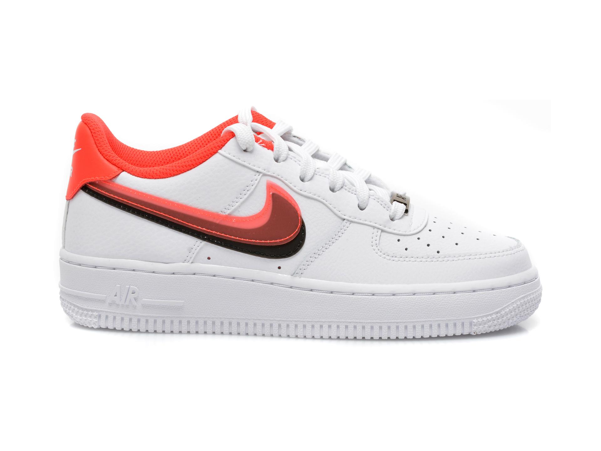 Pantofi sport NIKE albi, AIR FORCE 1 LV8 (GS), din piele naturala - 1
