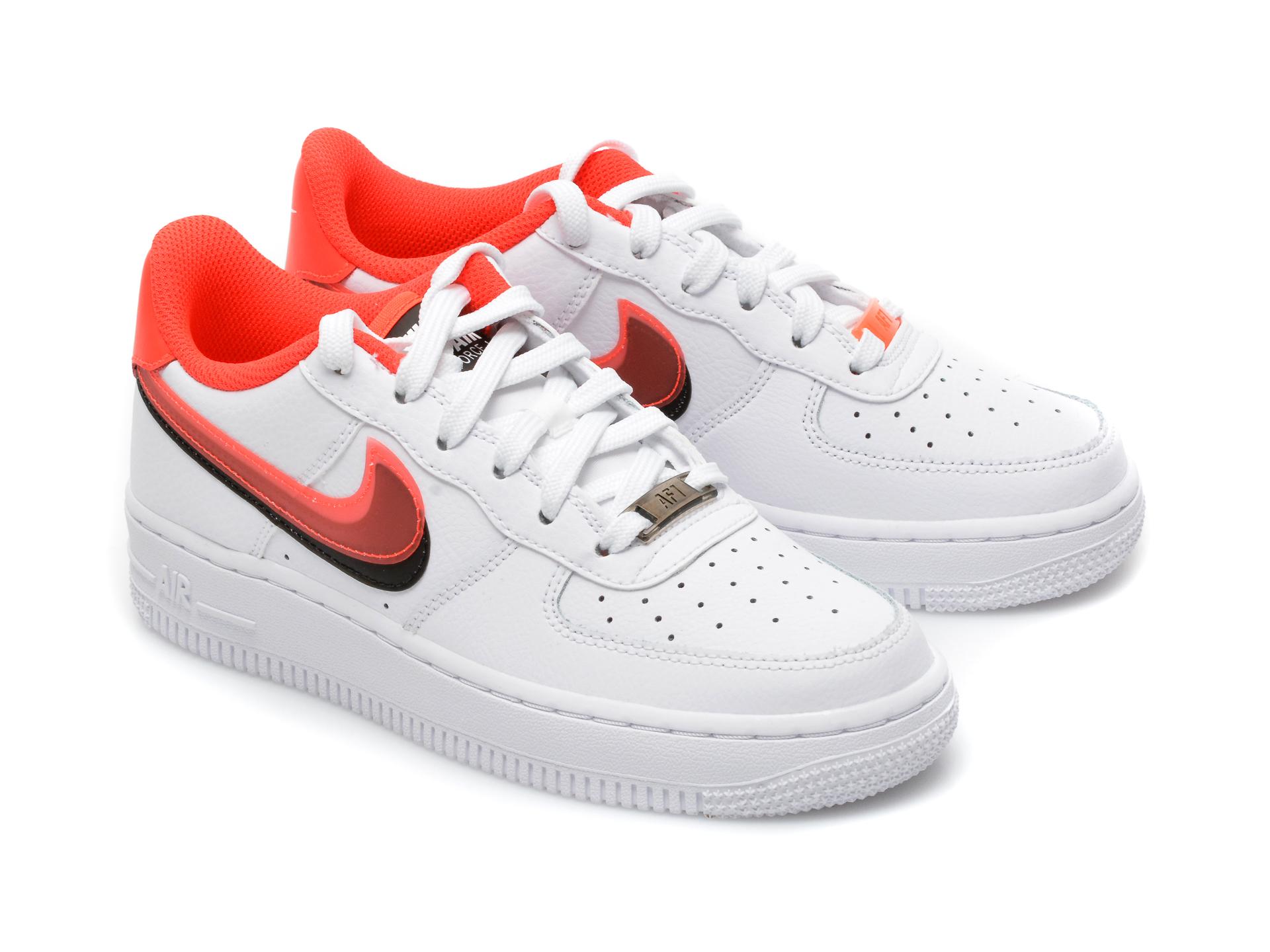 Pantofi sport NIKE albi, AIR FORCE 1 LV8 (GS), din piele naturala - 4