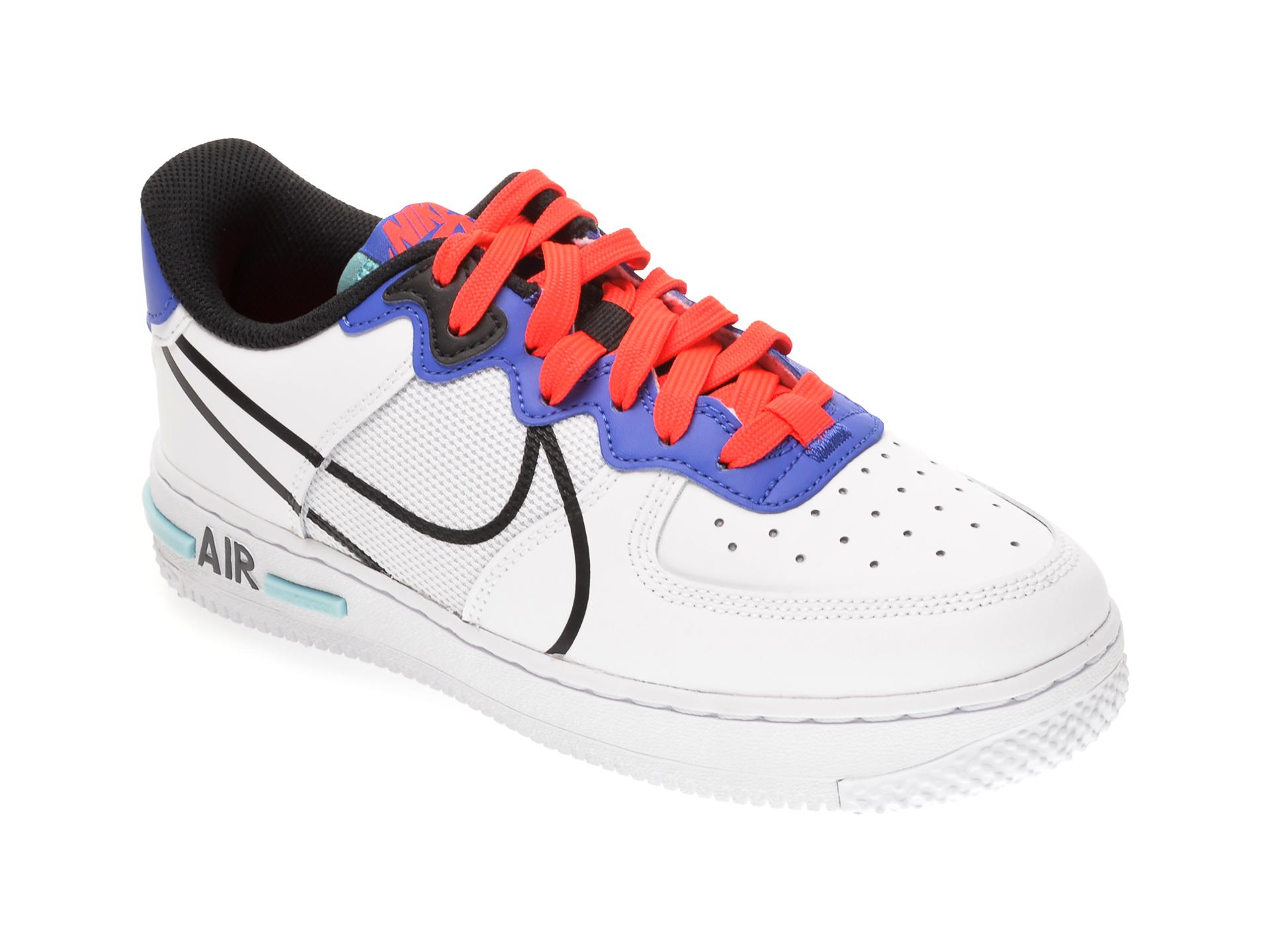 Pantofi sport NIKE albi, AIR FORCE 1 REACT BG, din material textil si piele naturala