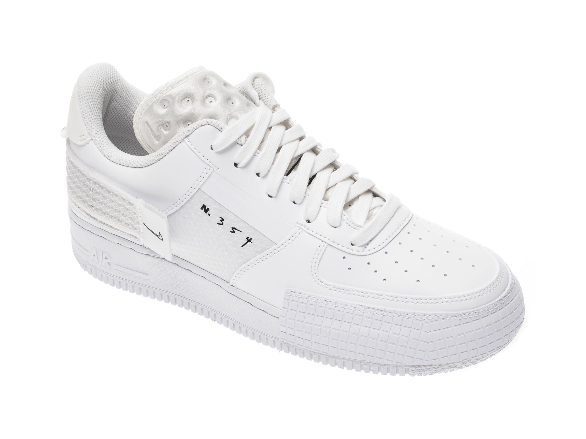 Pantofi sport NIKE albi, Air Force 1 Type, din piele ecologica si material textil