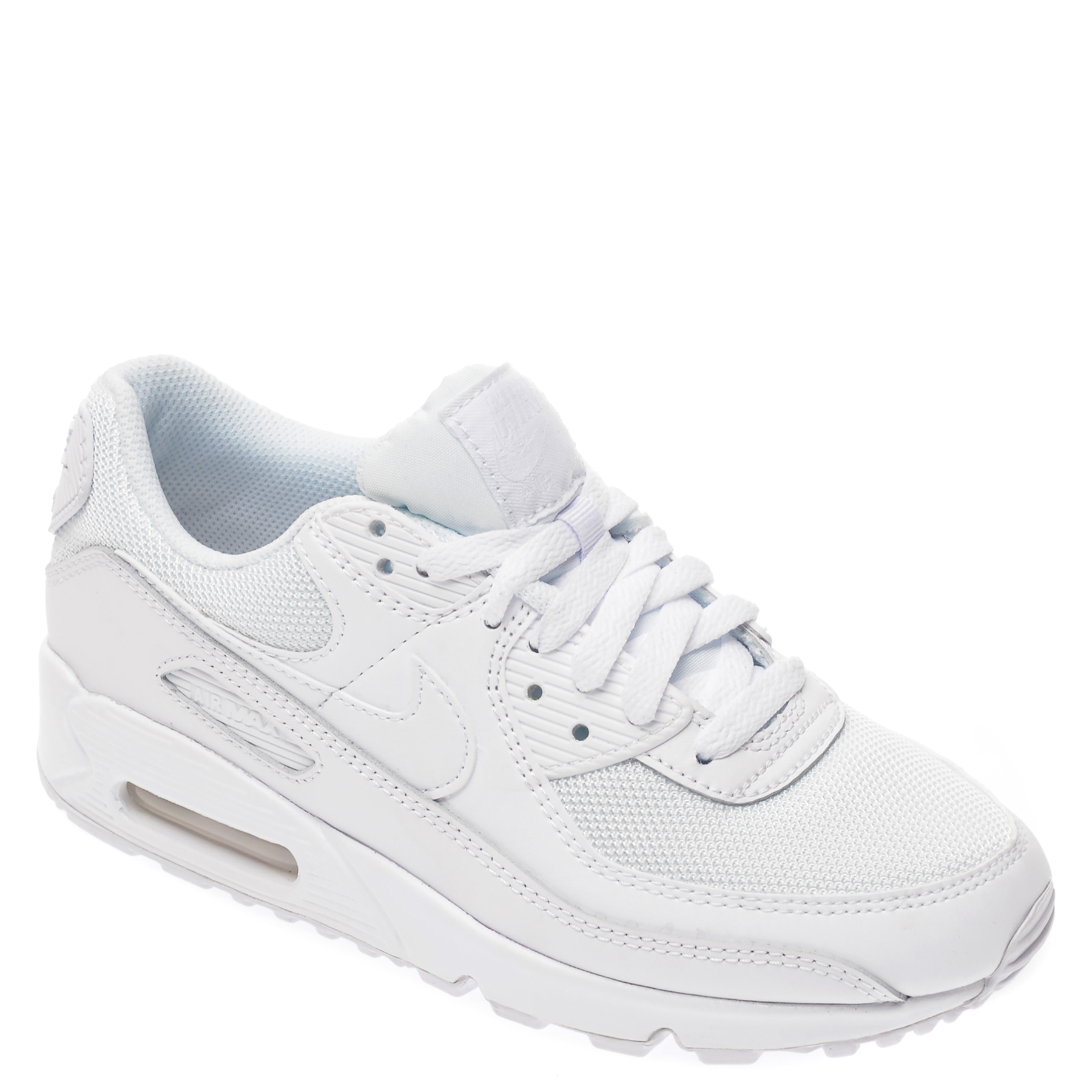 Pantofi sport NIKE albi, AIR MAX 90, din material textil si piele naturala