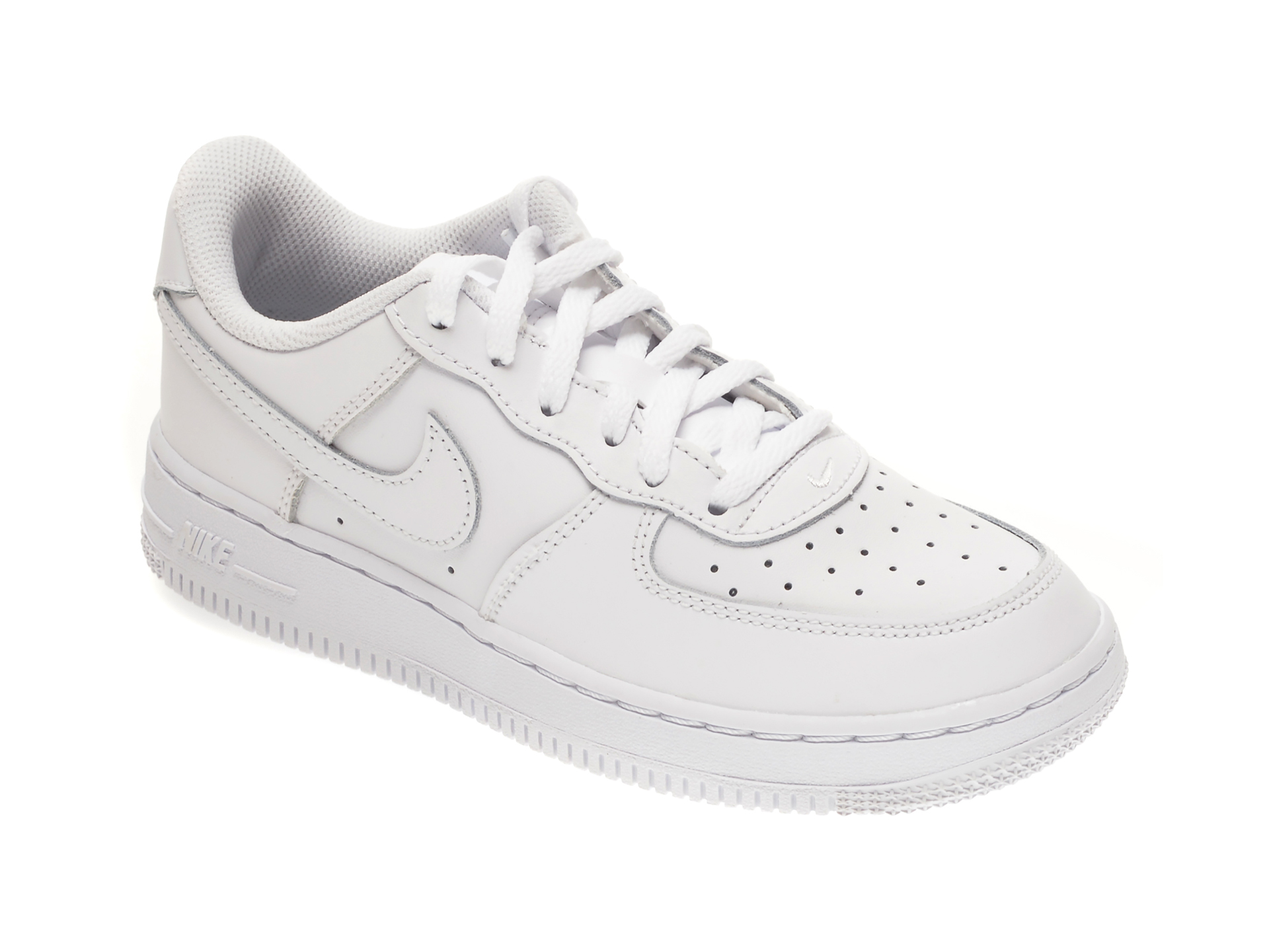 Pantofi sport NIKE albi, FORCE 1 BP, din piele naturala