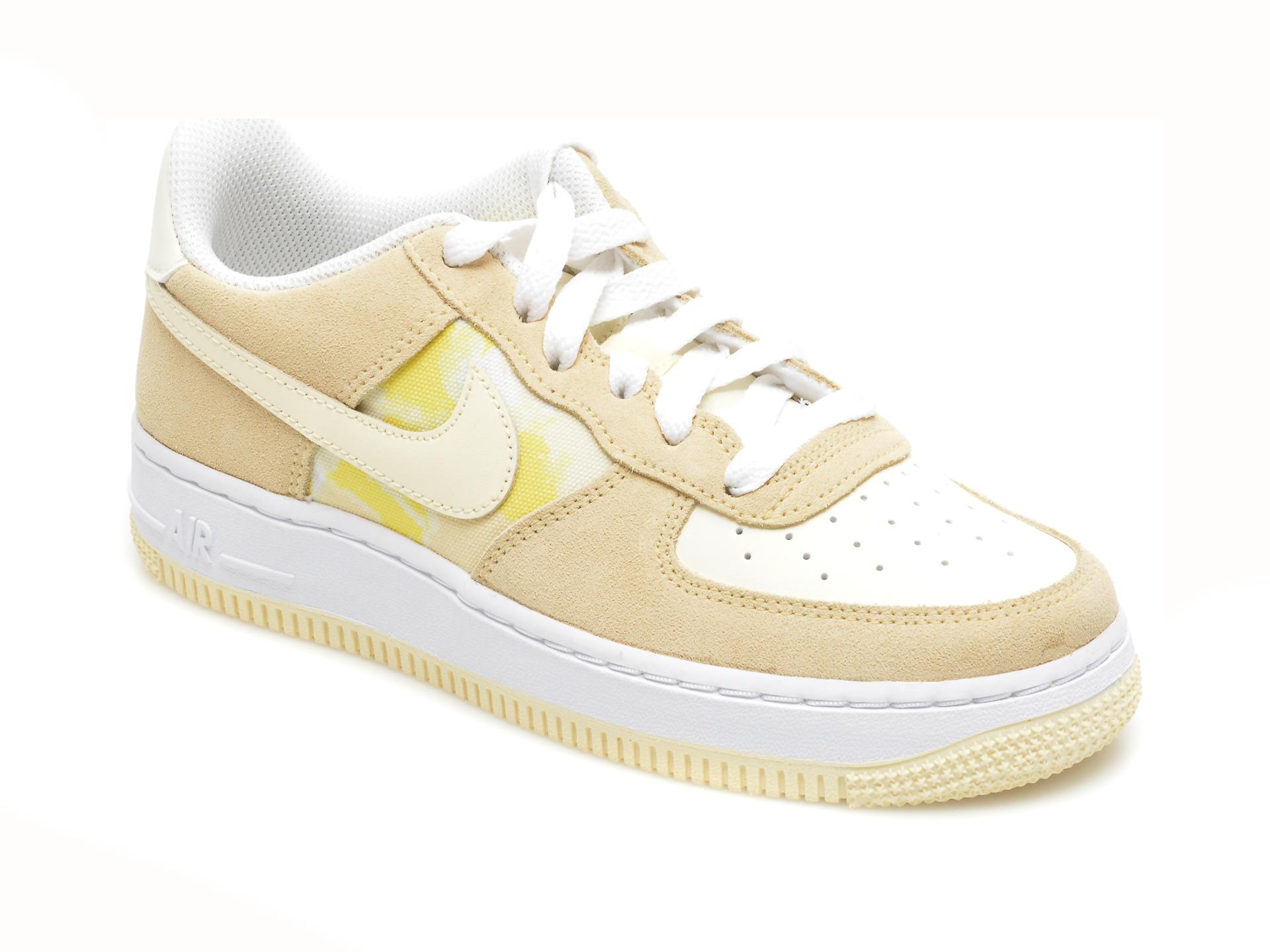 Pantofi sport NIKE bej, NIKE AIR FORCE 1 LOW GS TM, din material textil si piele naturala