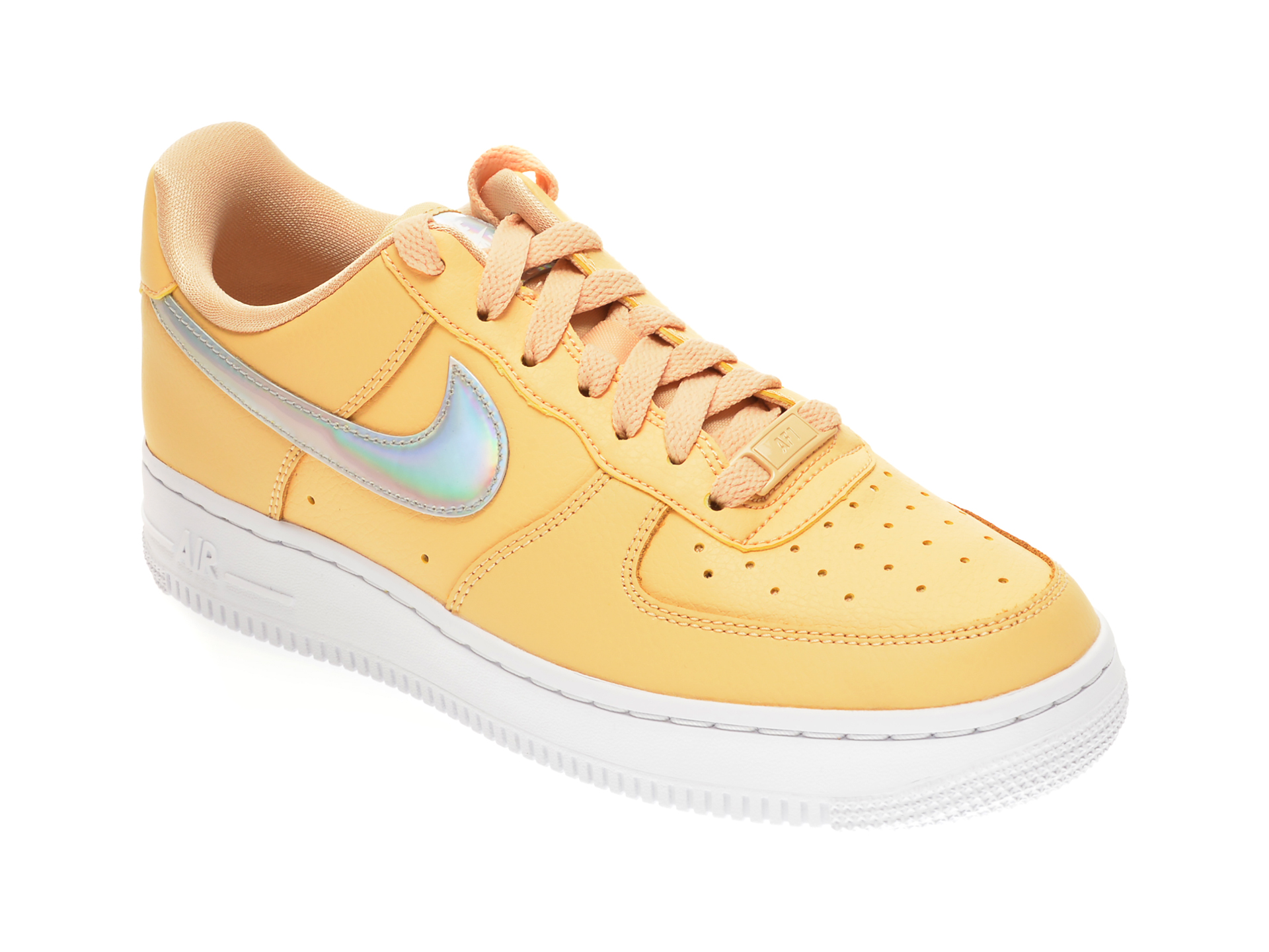 Pantofi sport NIKE galbeni, WMNS AIR FORCE 1 07, din piele naturala
